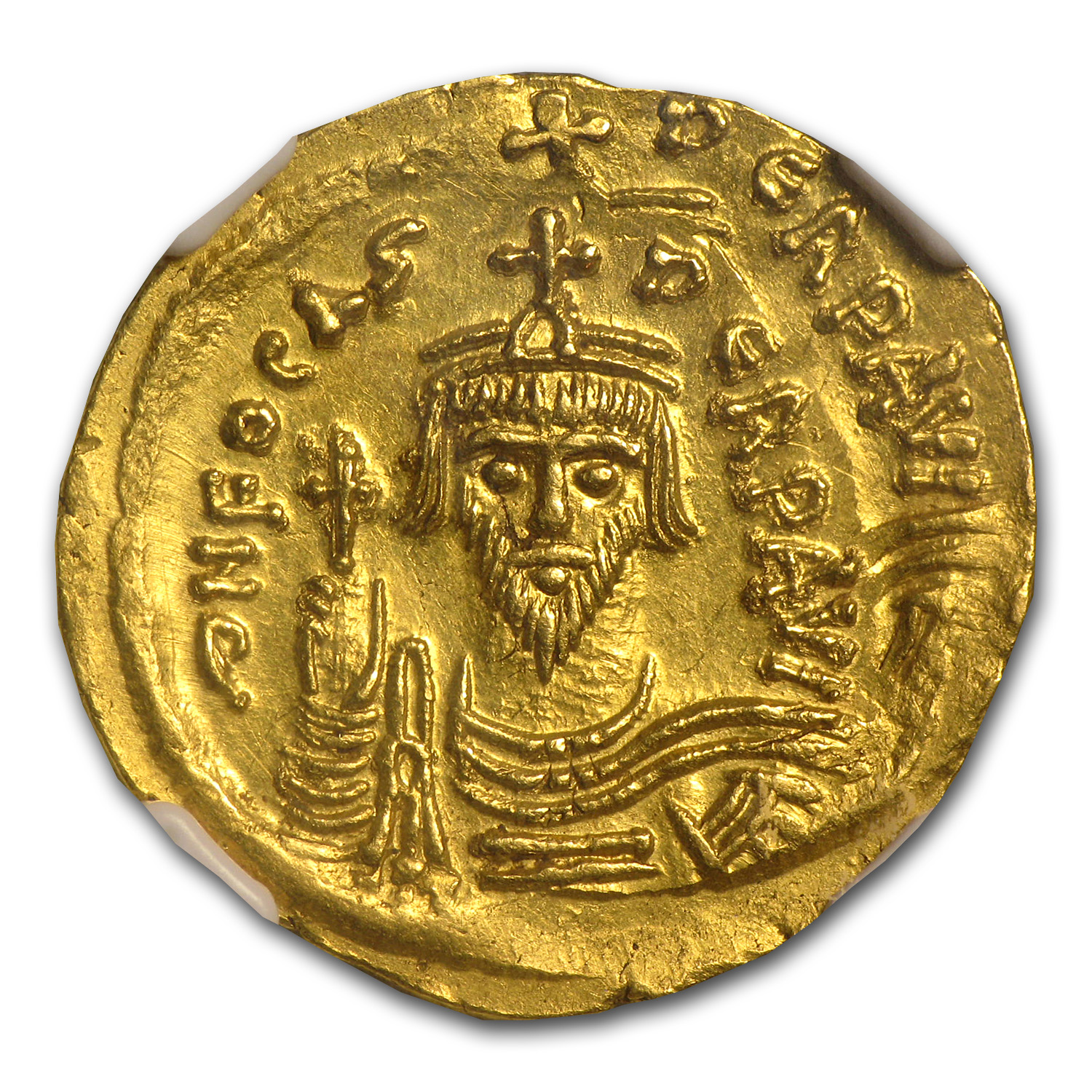 Byzantine Gold Coin - (Emperor Phocas) 602-610 AD NGC ChAU