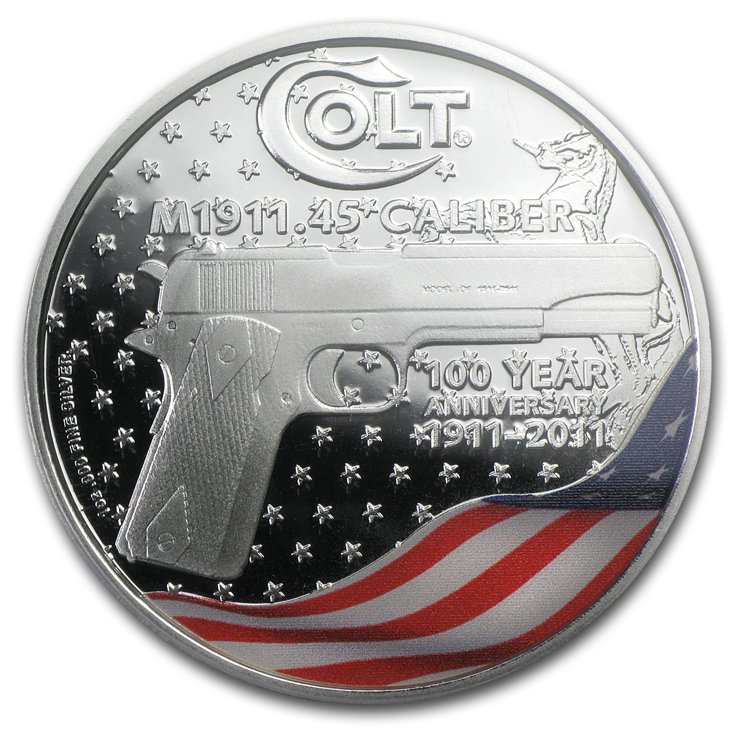 2011 New Zealand Mint Colt M1911 Gun 1 oz Silver Coin PCGS PR-70