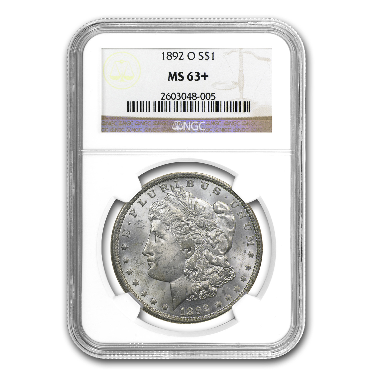 1892-O Morgan Dollar MS-63+ Plus NGC