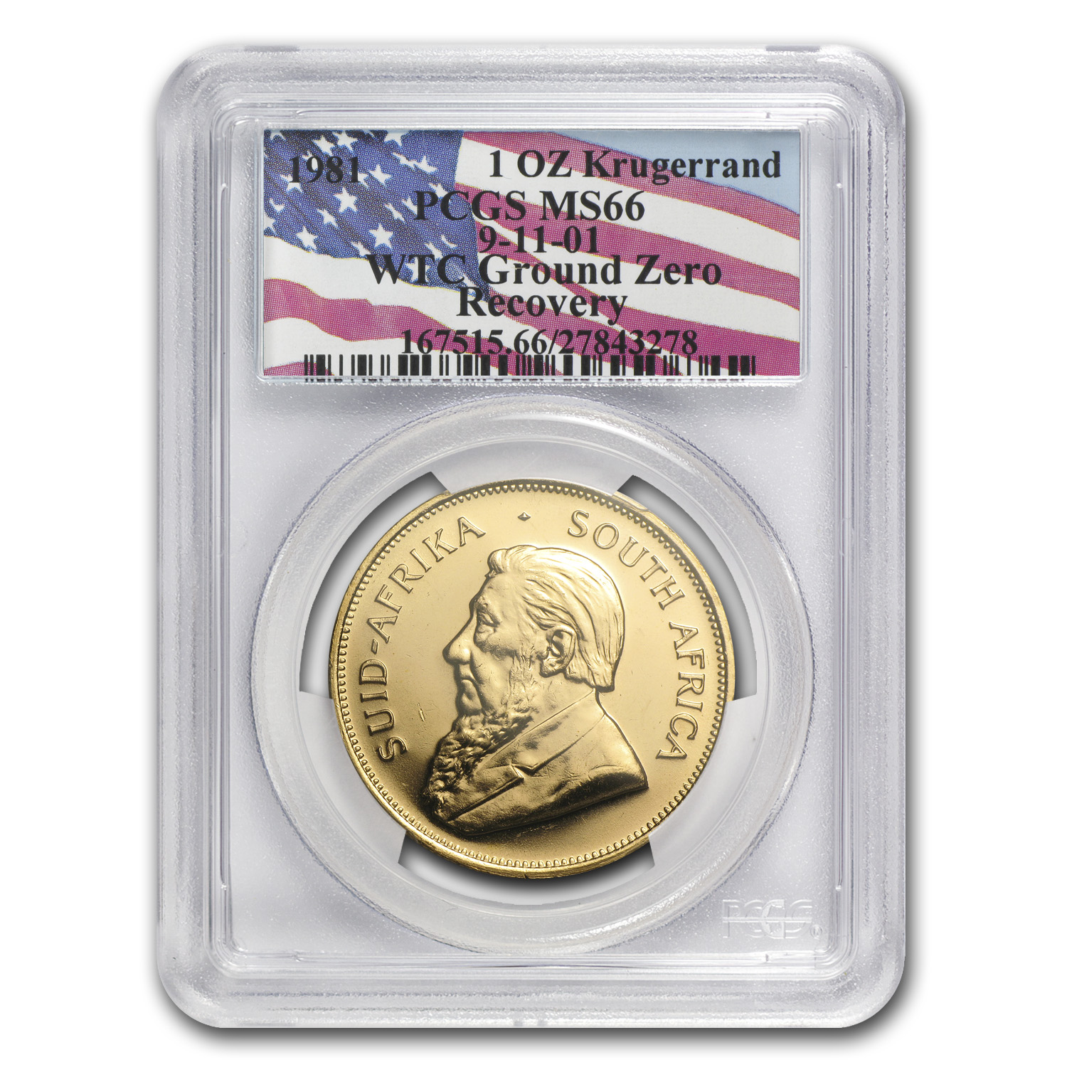 1981 1 oz Gold South African Krugerrand PCGS MS-66 (WTC)