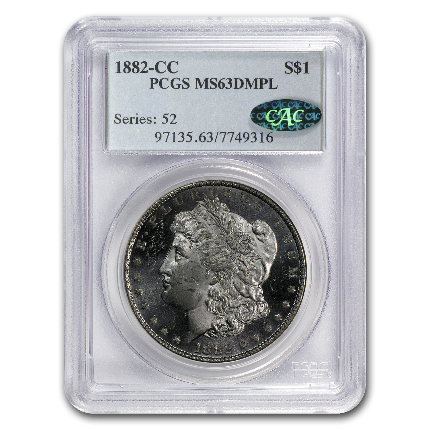 1882-CC Morgan Dollar MS-63 DMPL Deep Mirror Proof Like PCGS CAC