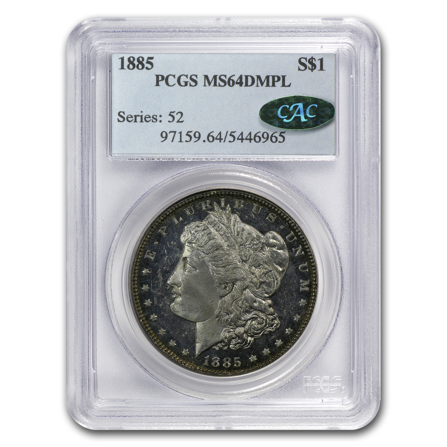1885 Morgan Dollar MS-64 DMPL PCGS (CAC)