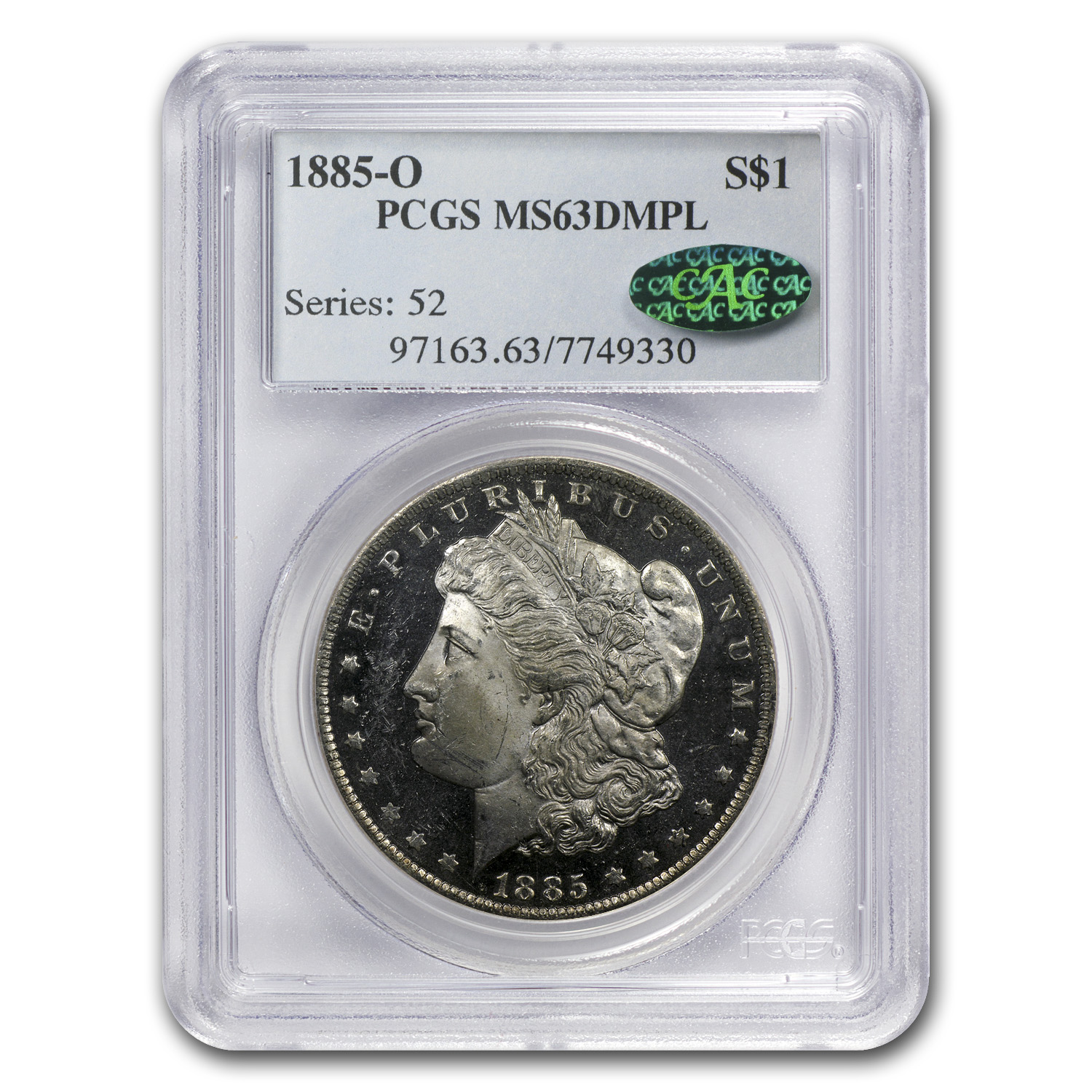 1885-O Morgan Dollar - MS-63 DMPL Deep Mirror Proof Like PCGS CAC