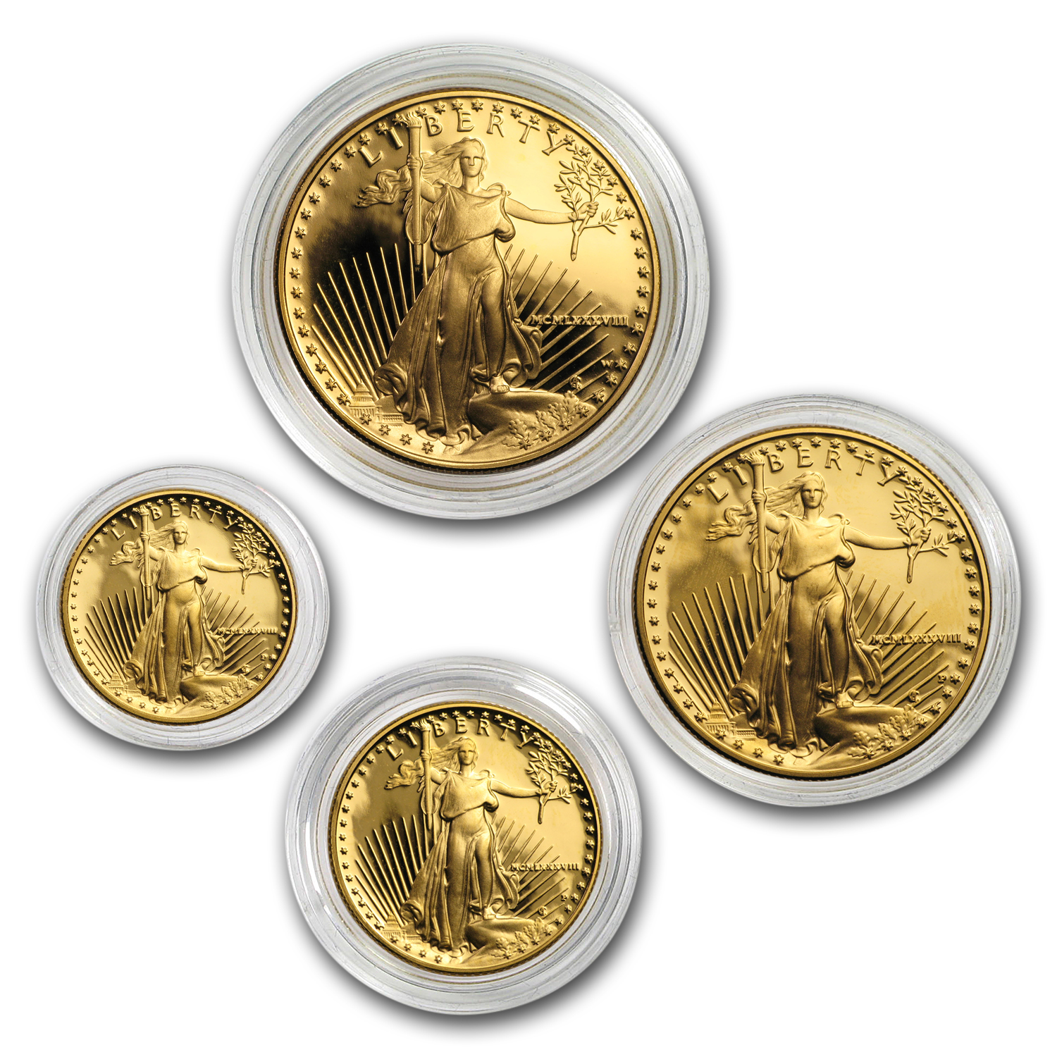 4-Coin Proof Gold American Eagle Set (Random Year, Capsules Only)