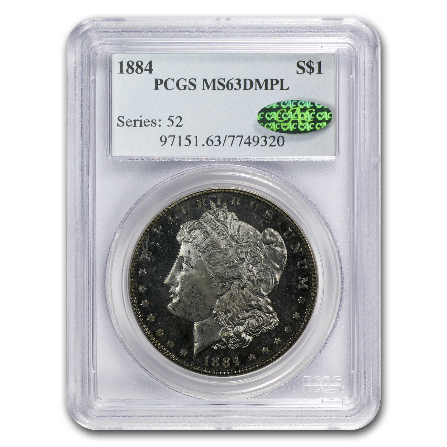 1884 Morgan Dollar MS-63 DMPL PCGS (CAC)