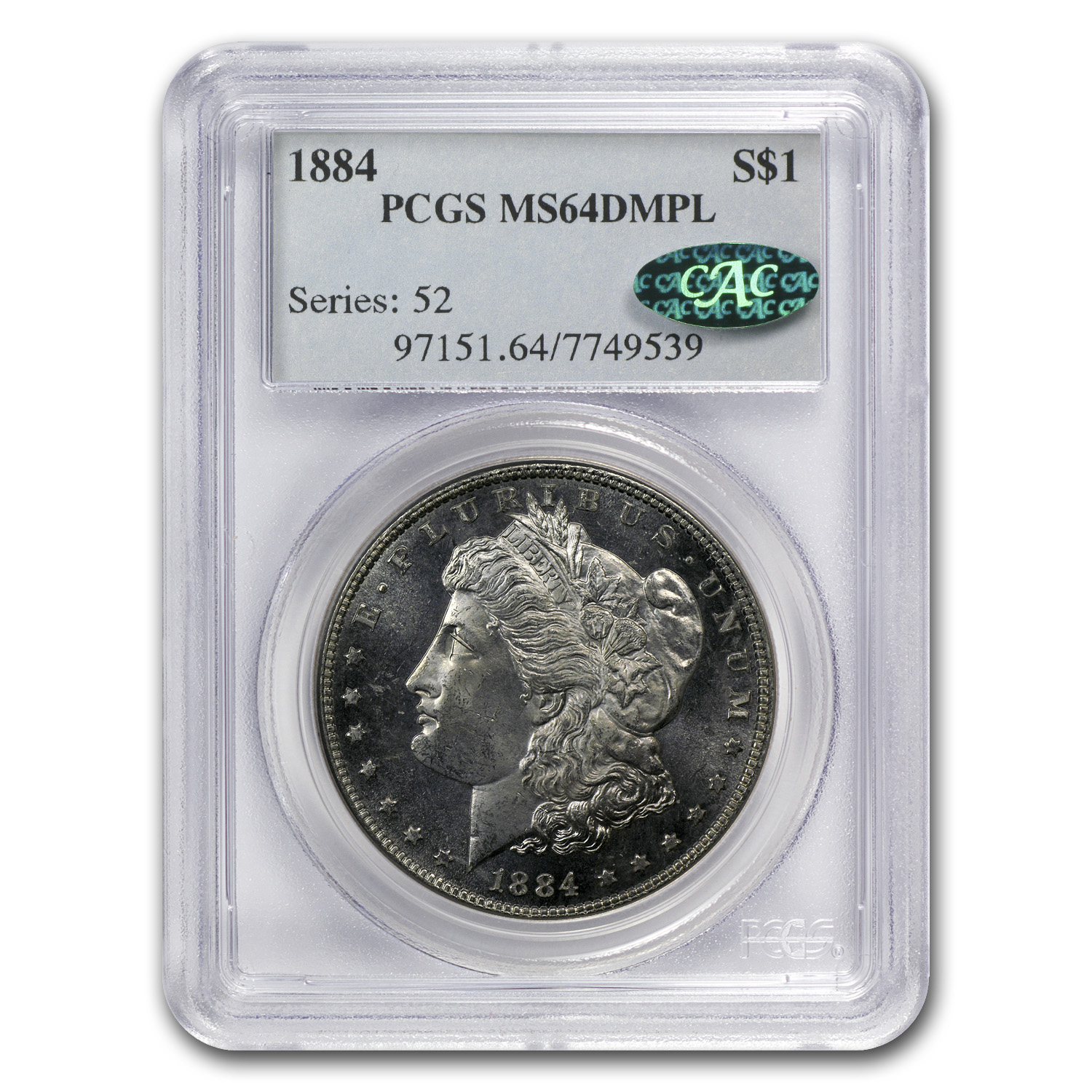 1884 Morgan Dollar MS-64 DMPL PCGS (CAC)