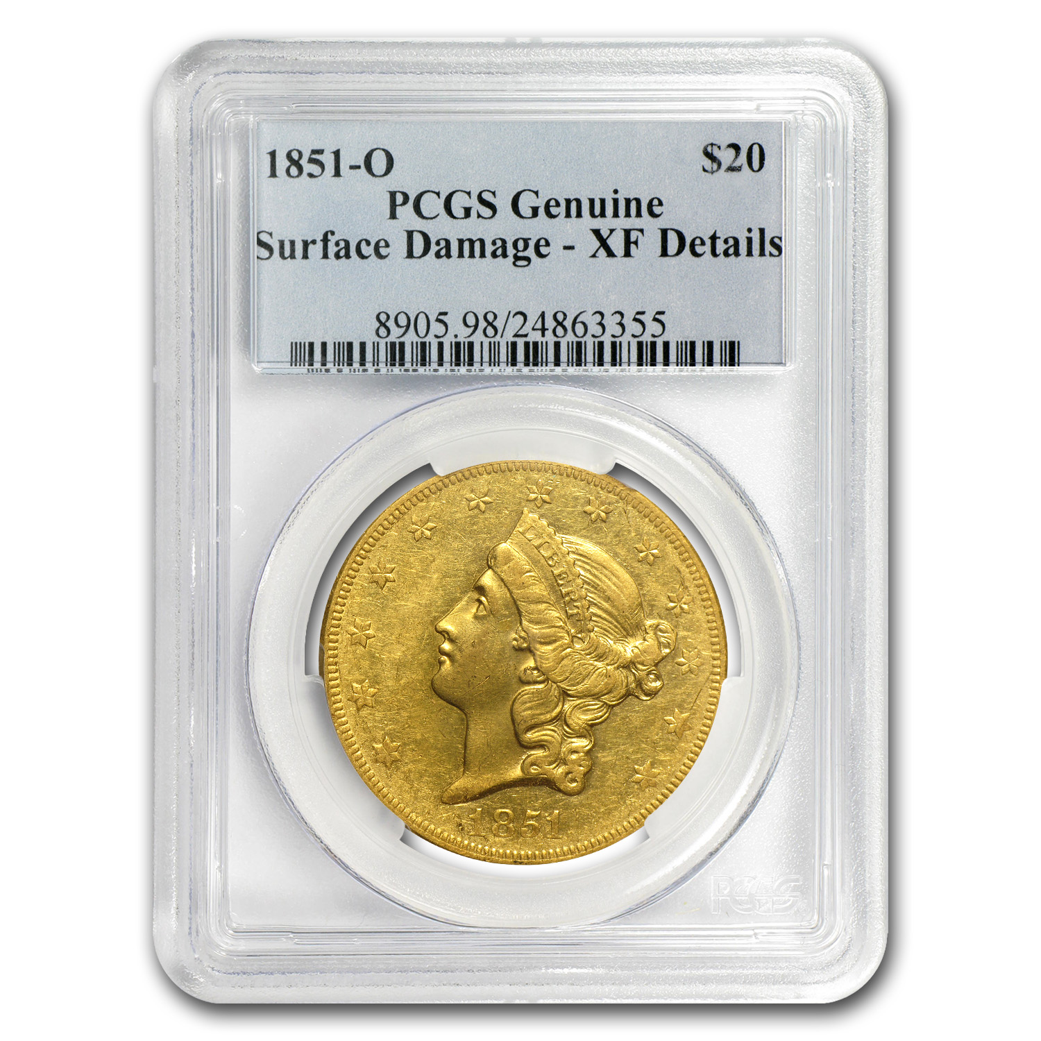 1851-O $20 Gold Liberty Double Eagle - (EF Details) - PCGS
