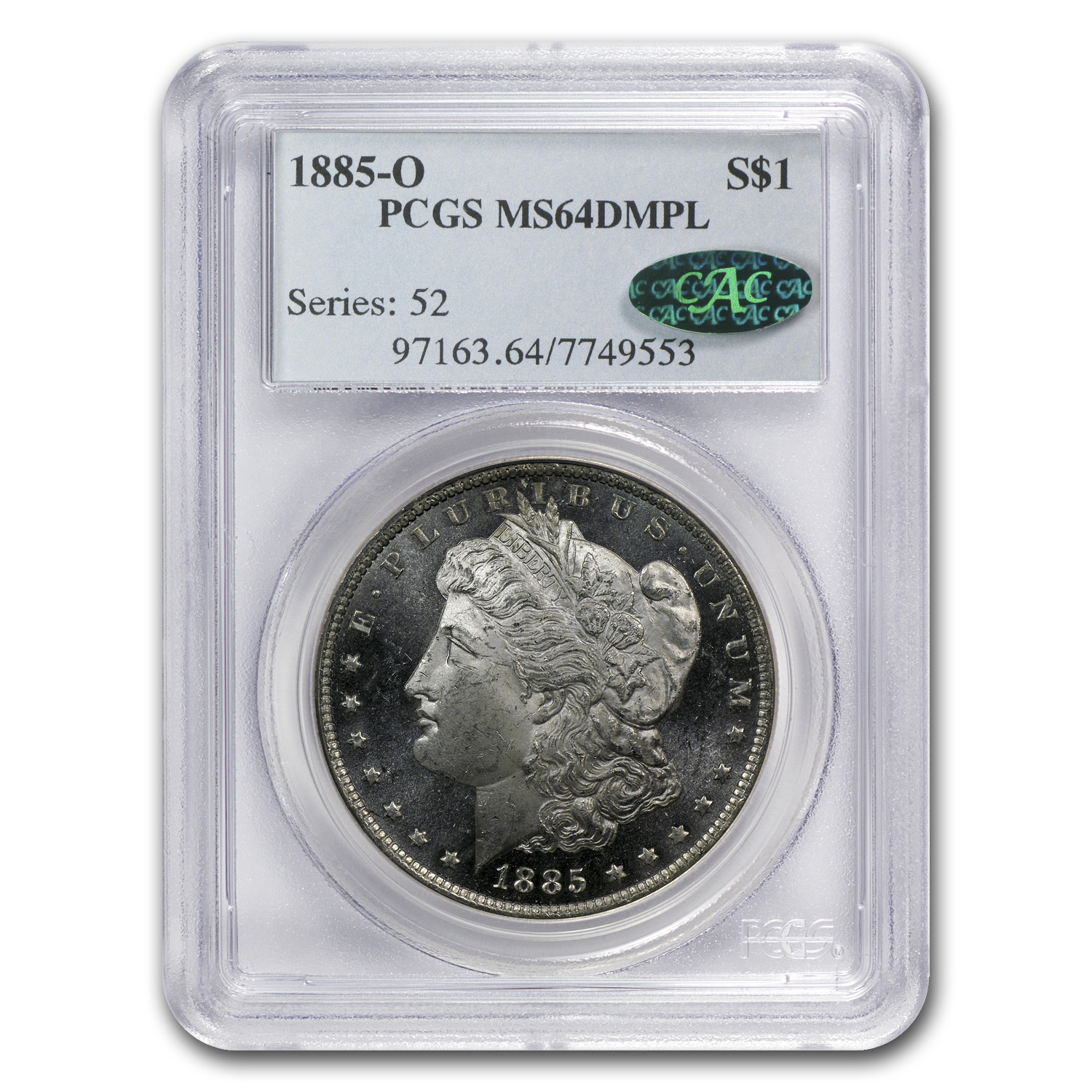 1885-O Morgan Dollar MS-64 DMPL PCGS (CAC)