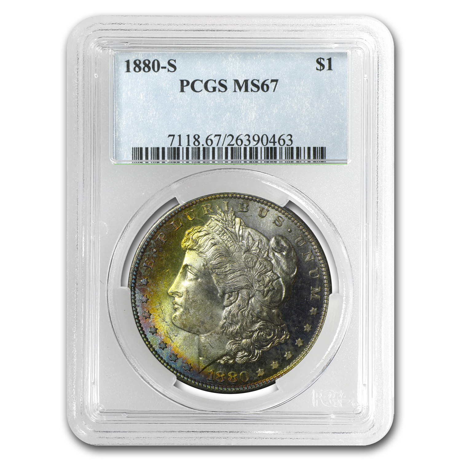 1880-S Morgan Dollar MS-67 PCGS (Blue & Gold Crescent Toning)