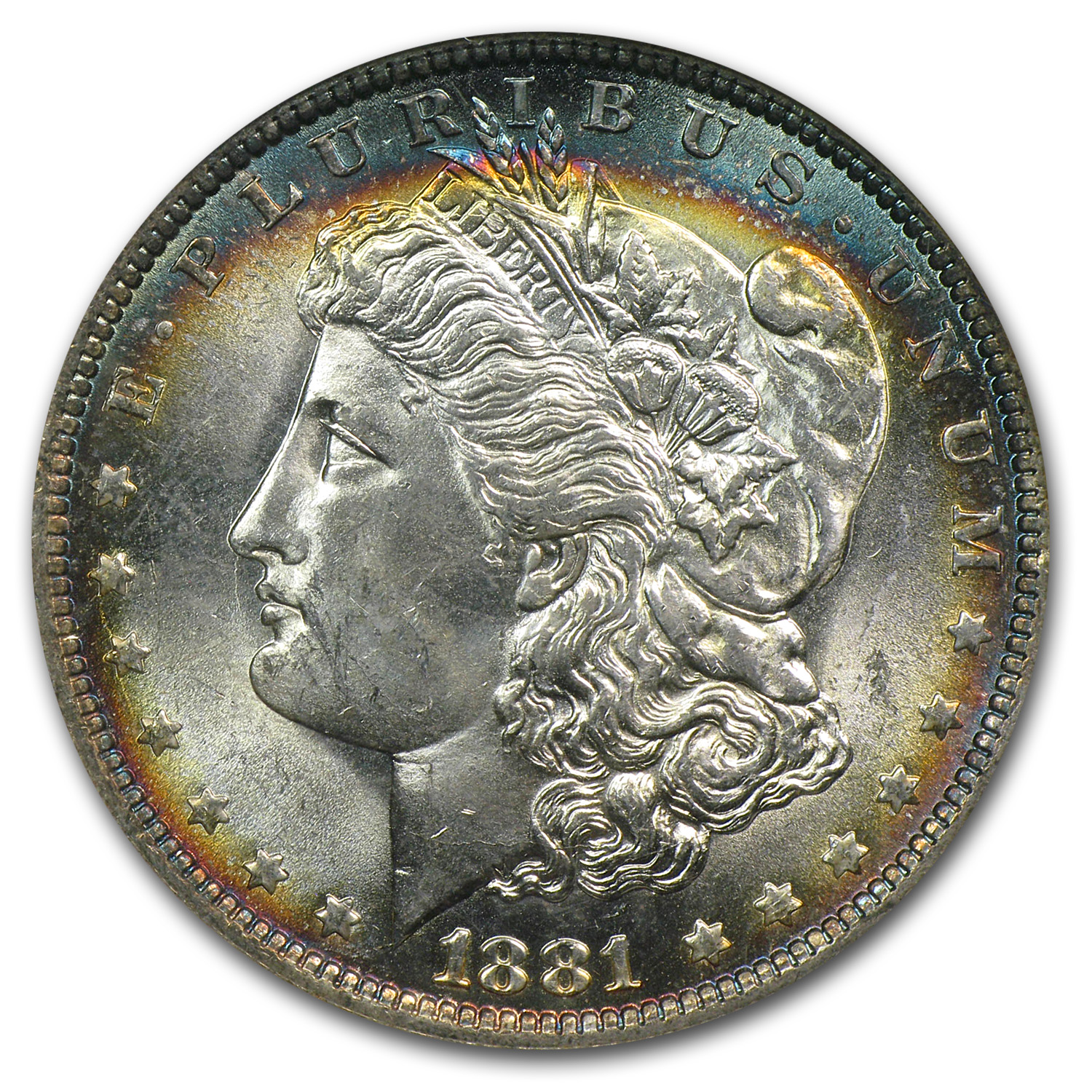 1881-O Morgan Dollar MS-64 NGC (CAC, Blue Toning)