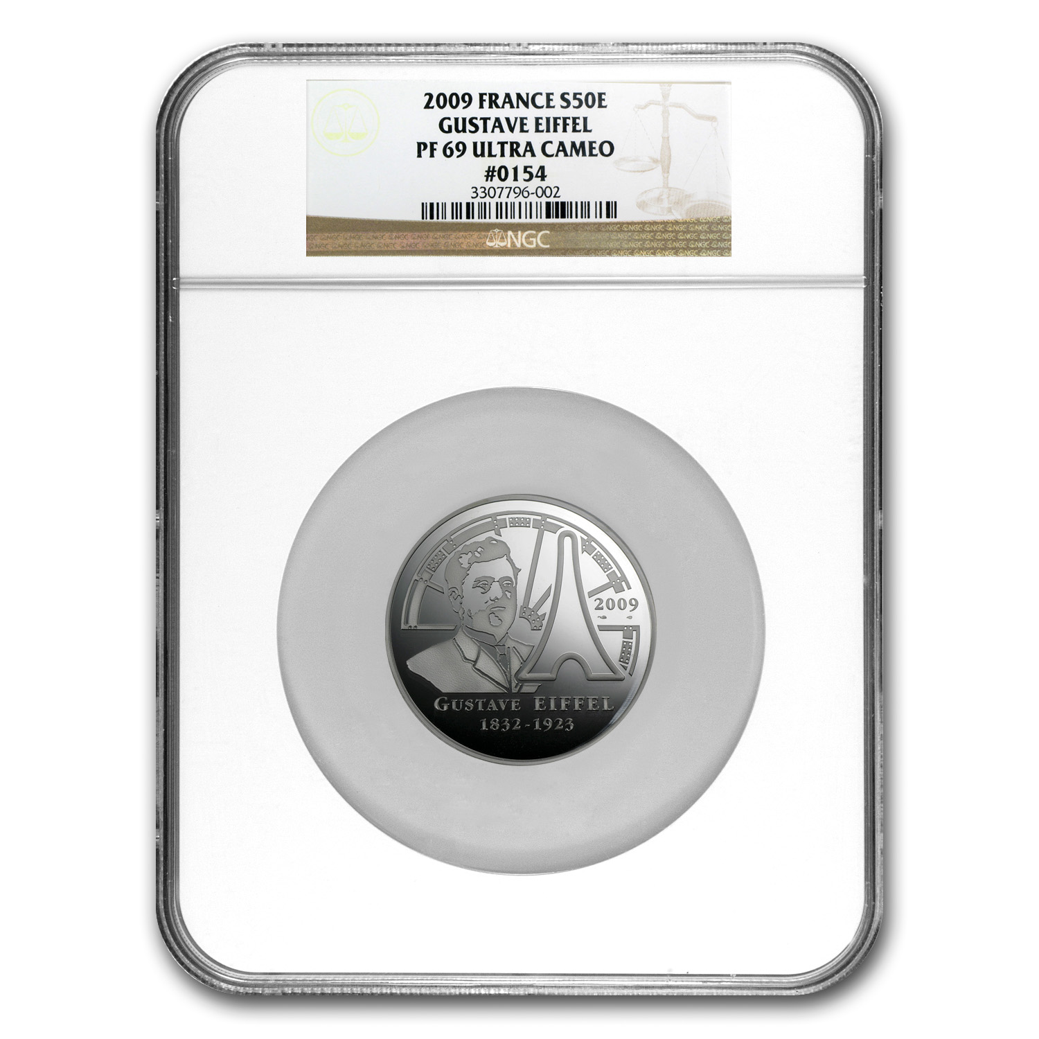 France 2009 5 oz Silver Proof Eiffel Tower -PF-69 UCAM NGC