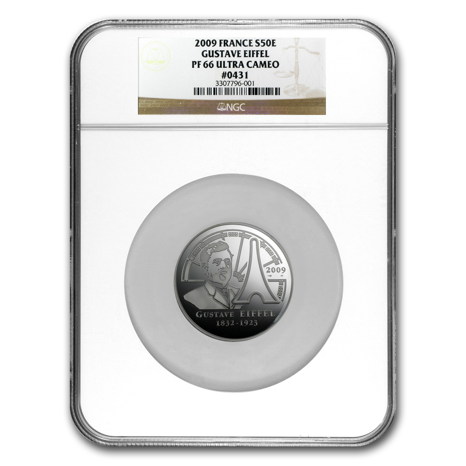 France 2009 5 oz Silver Proof Eiffel Tower - PF-66 UCAM NGC