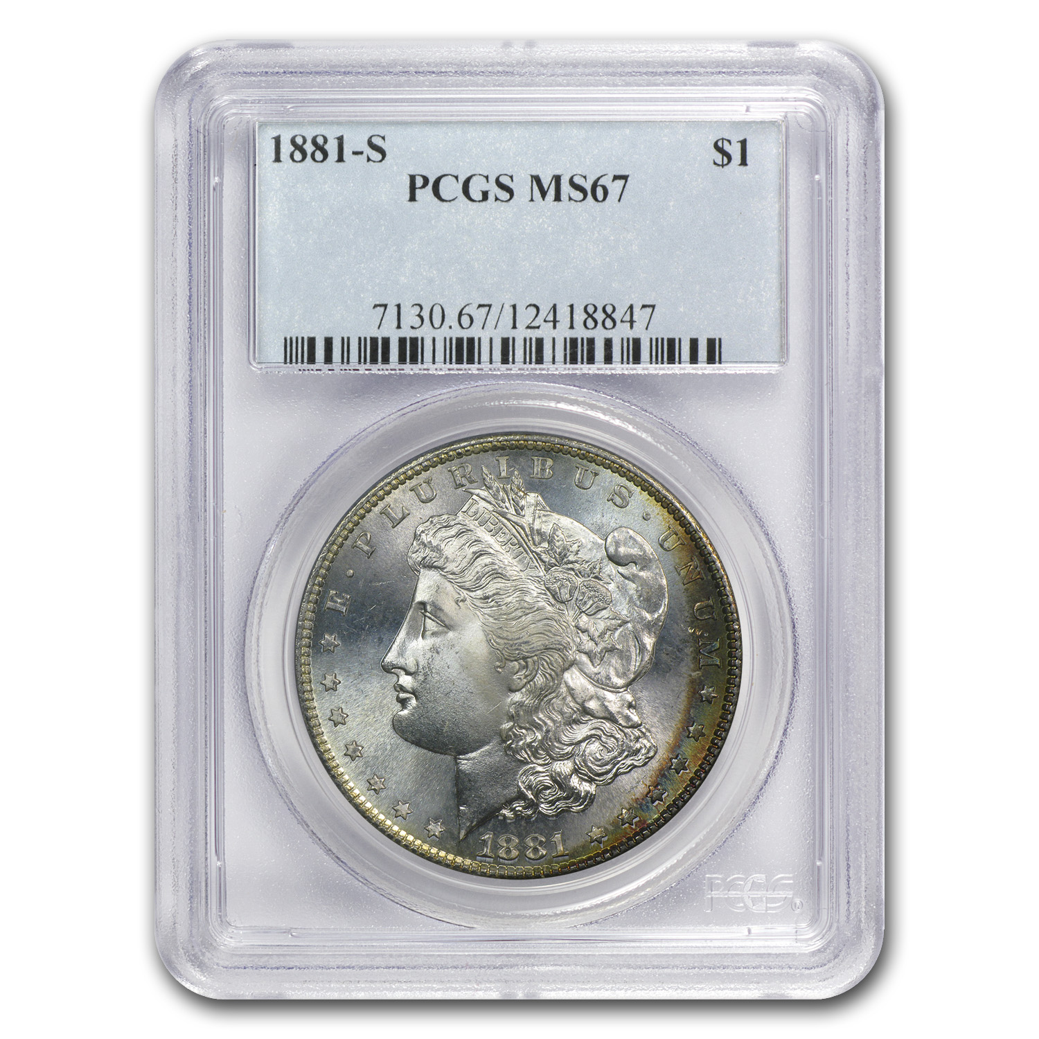 1881-S Morgan Dollar - MS-67 PCGS - Crescent Toning