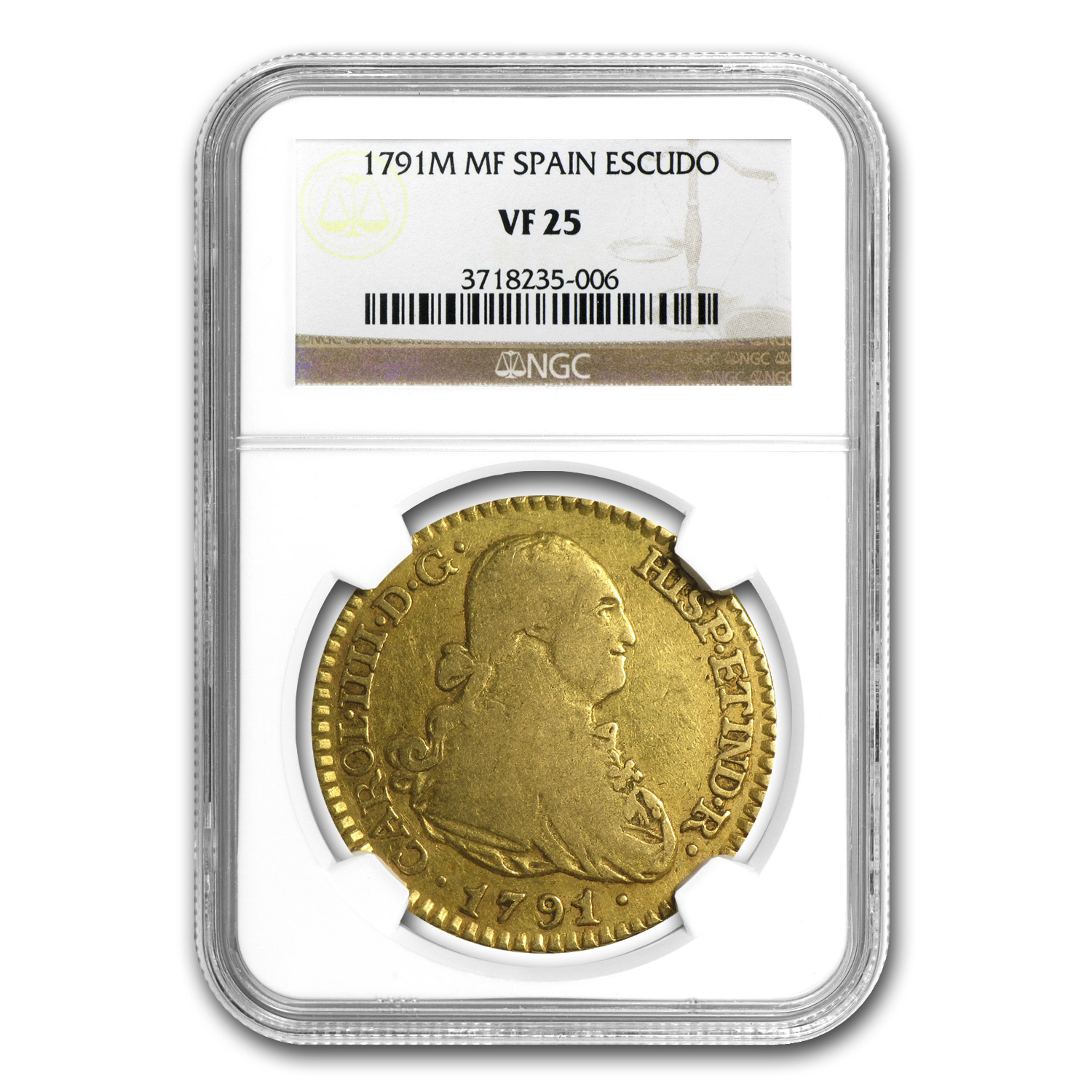 1787 Spain Gold Escudo VF-35 NGC