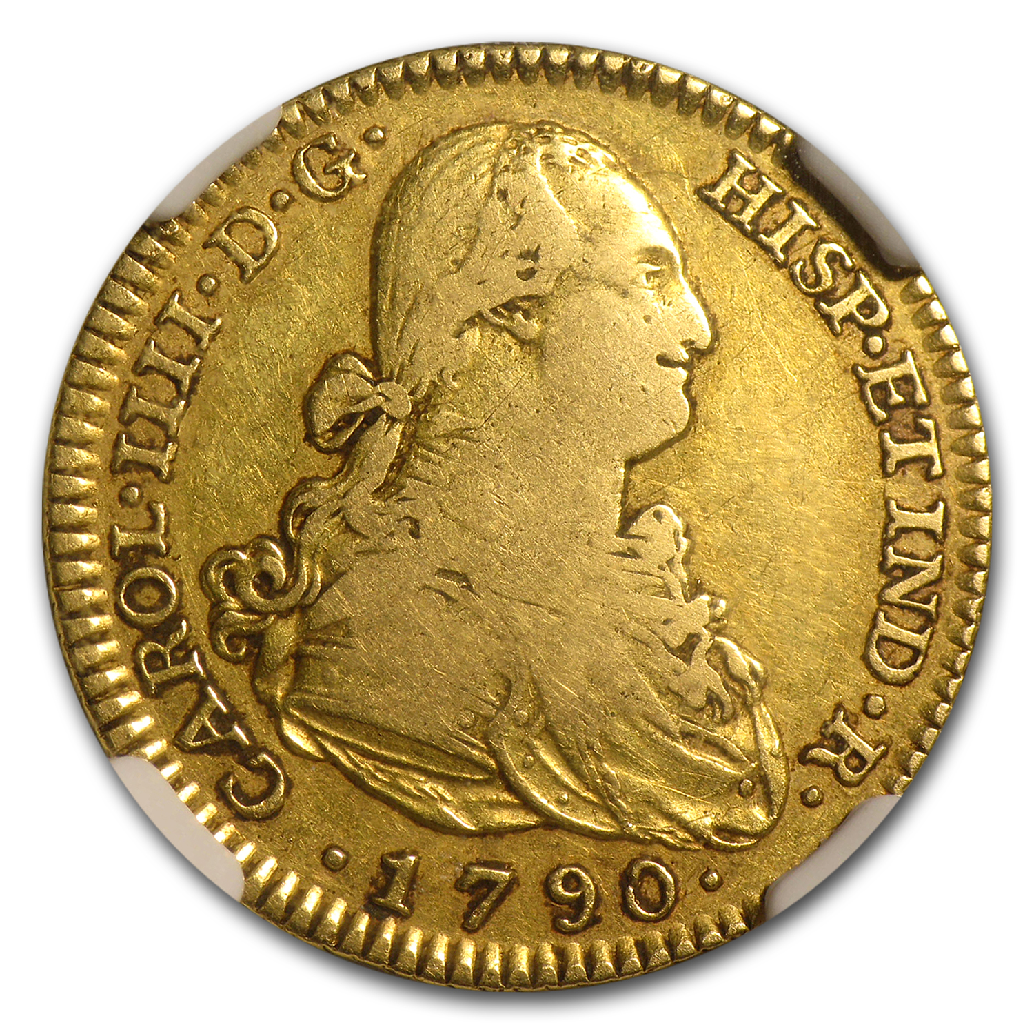 1790-MF Spain Gold 2 Escudo VF-25 NGC