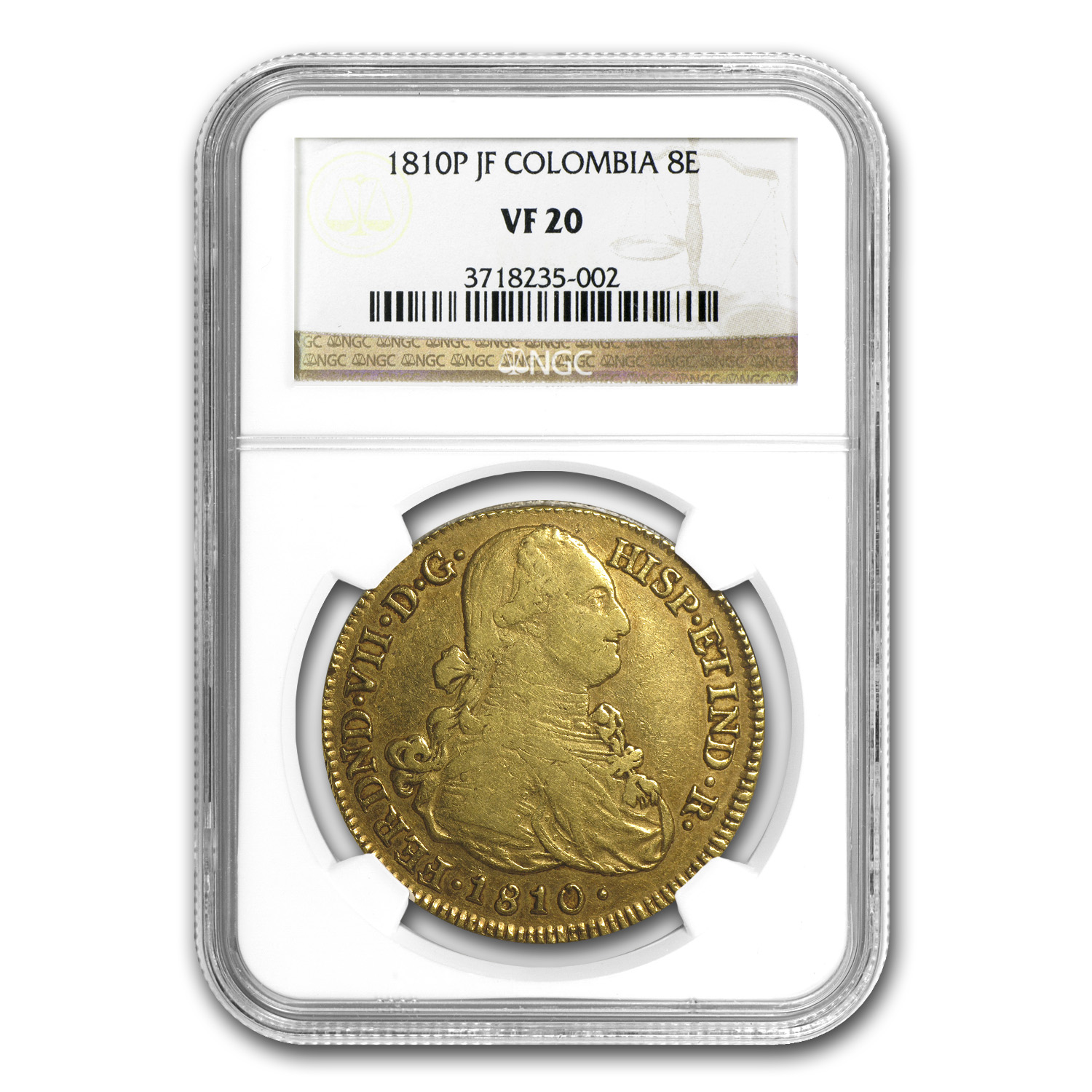 1810 P-JF Colombia Gold 8 Escudo Ferdinand VII VF-20 NGC