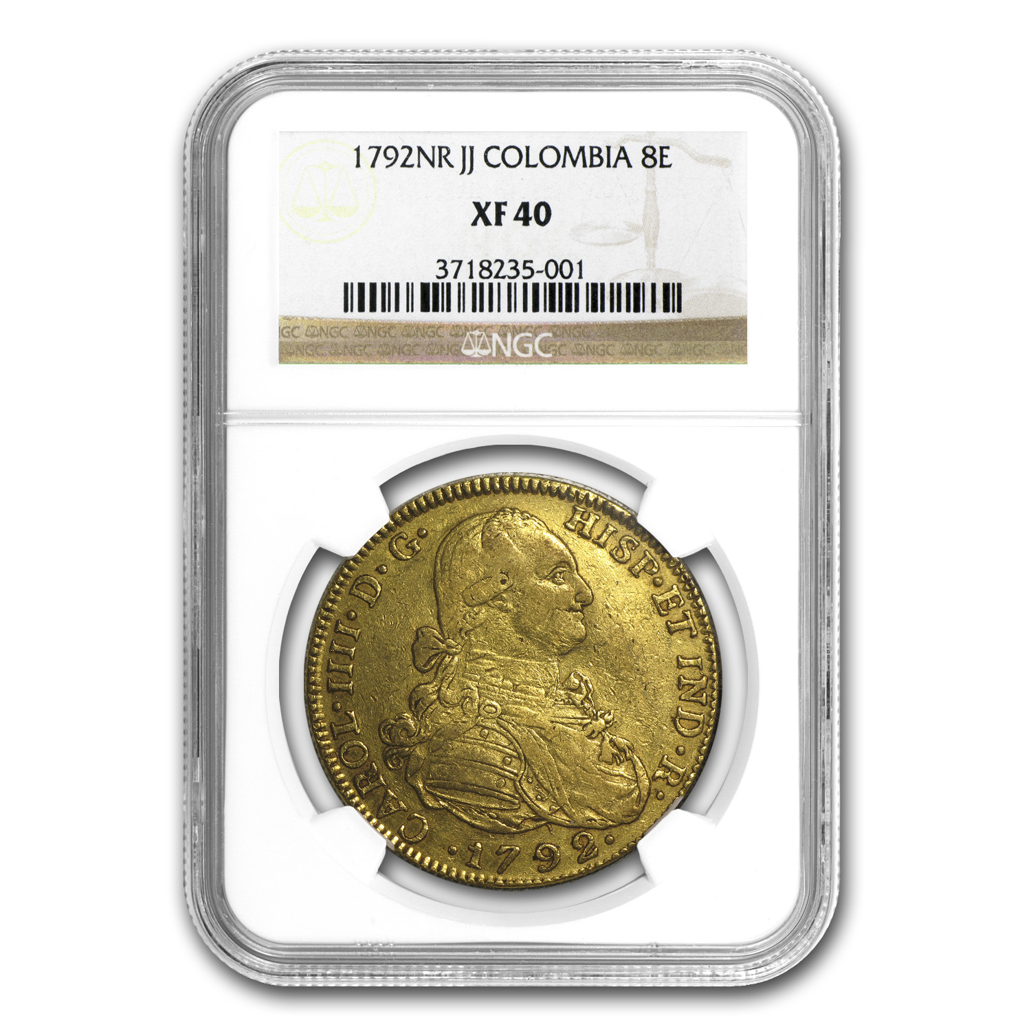 1792 Colombia Gold 8 Escudos XF-40 NGC