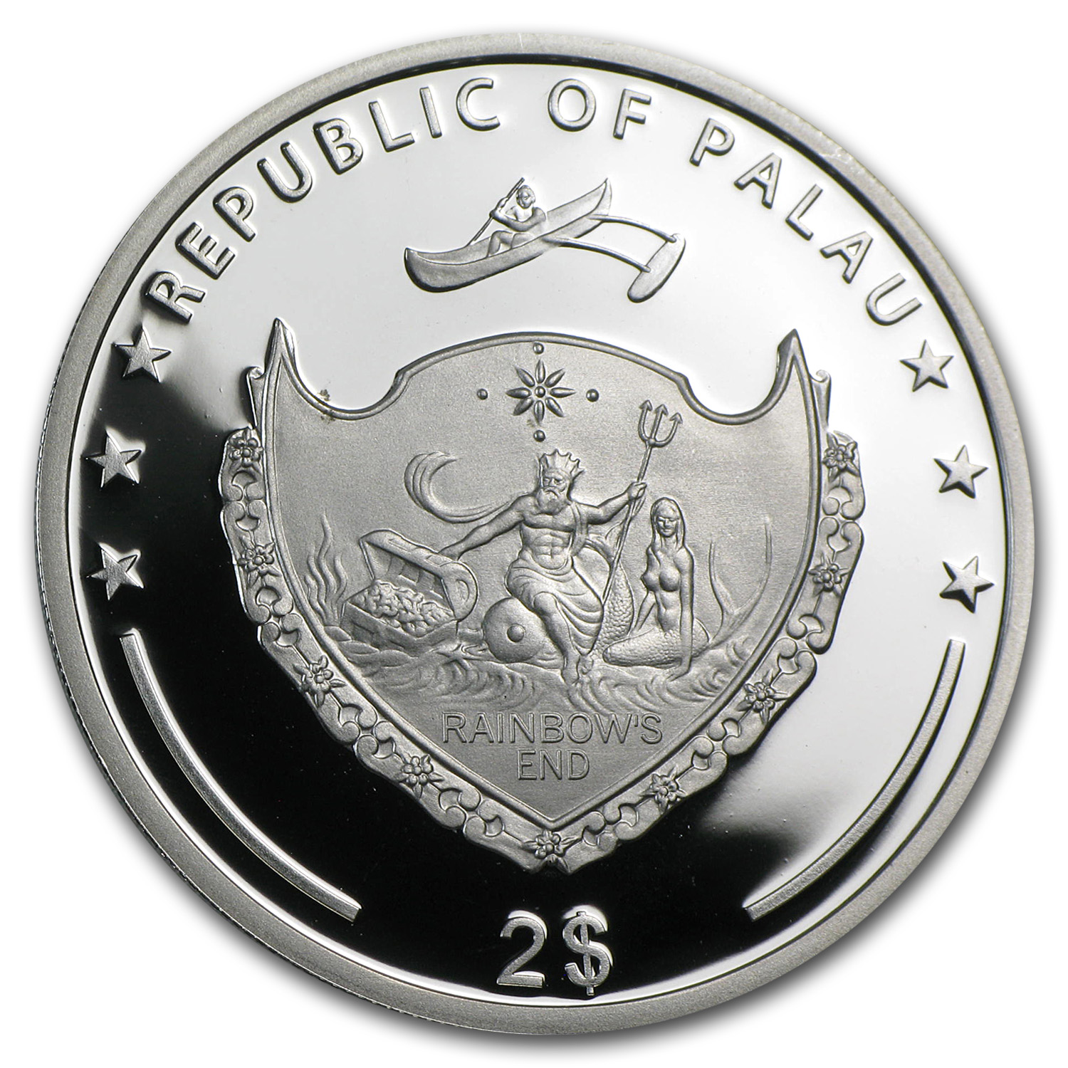 2013 Palau Proof Silver $2 World of Frogs Australian Green Frog