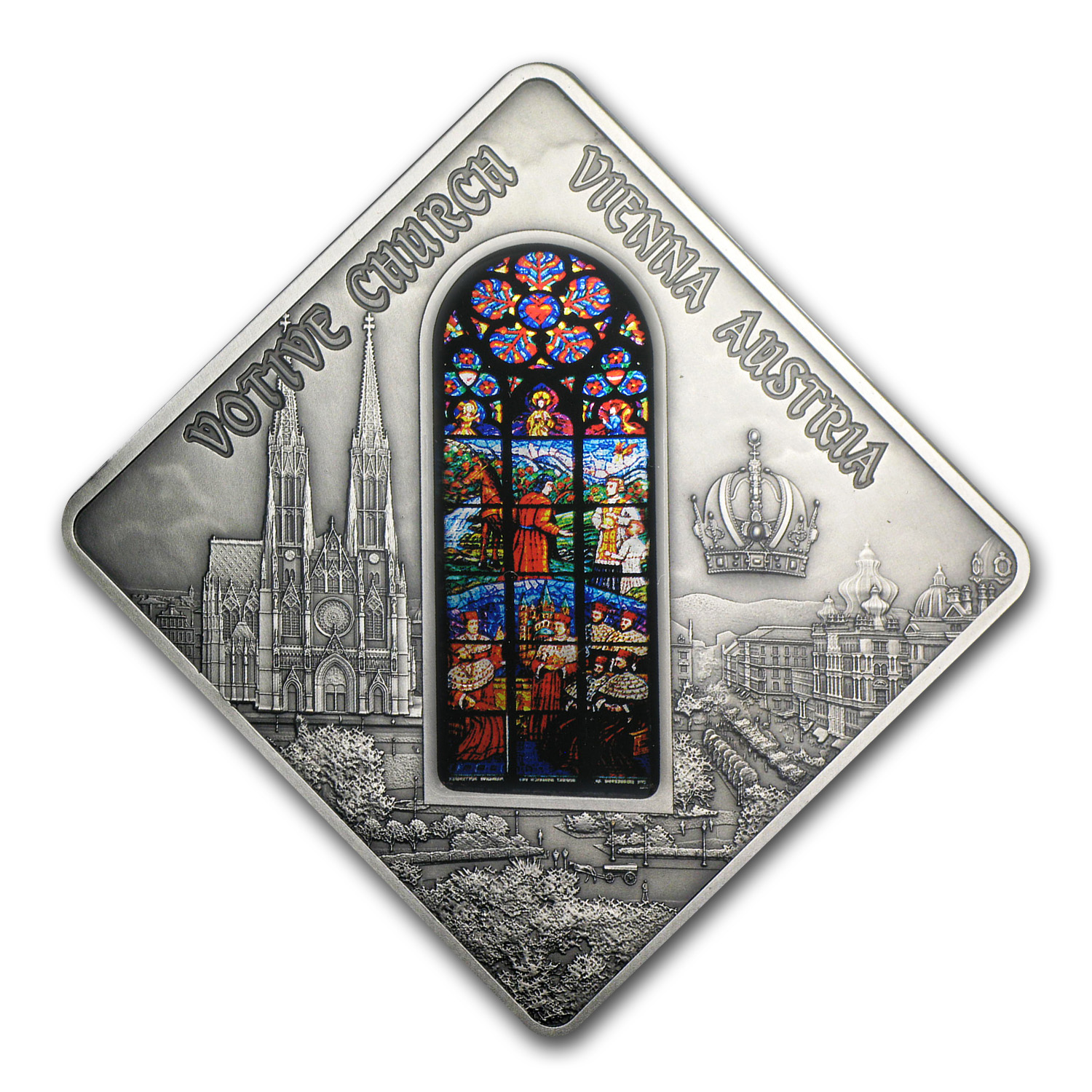 2012 Palau Proof Silver $10 Holy Windows Vienna Votive Church