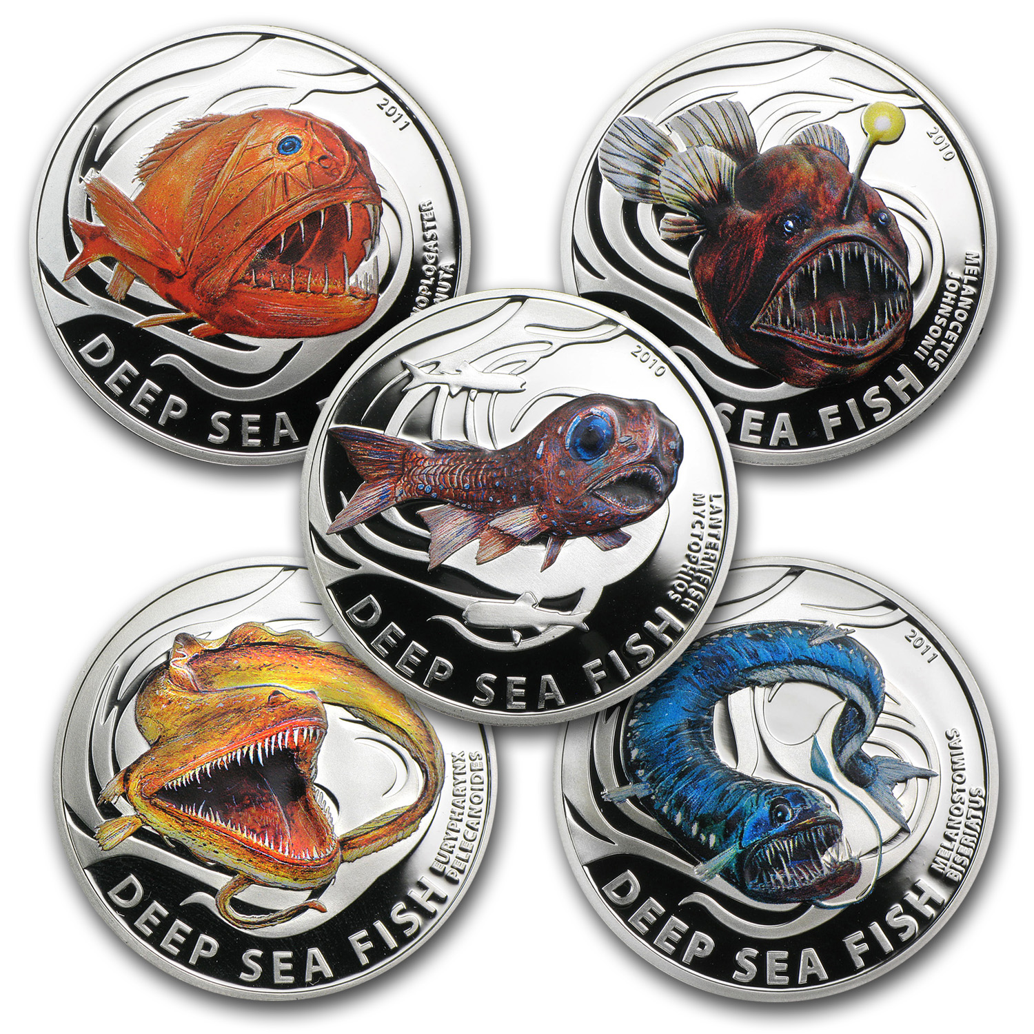 2011 Pitcairn Islands 5-Coin Silver Deep Sea Fish Proof Set