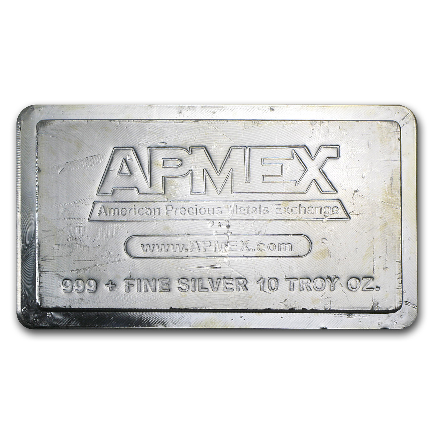 10 oz Silver Bar - APMEX (Stackable, Scruffy)