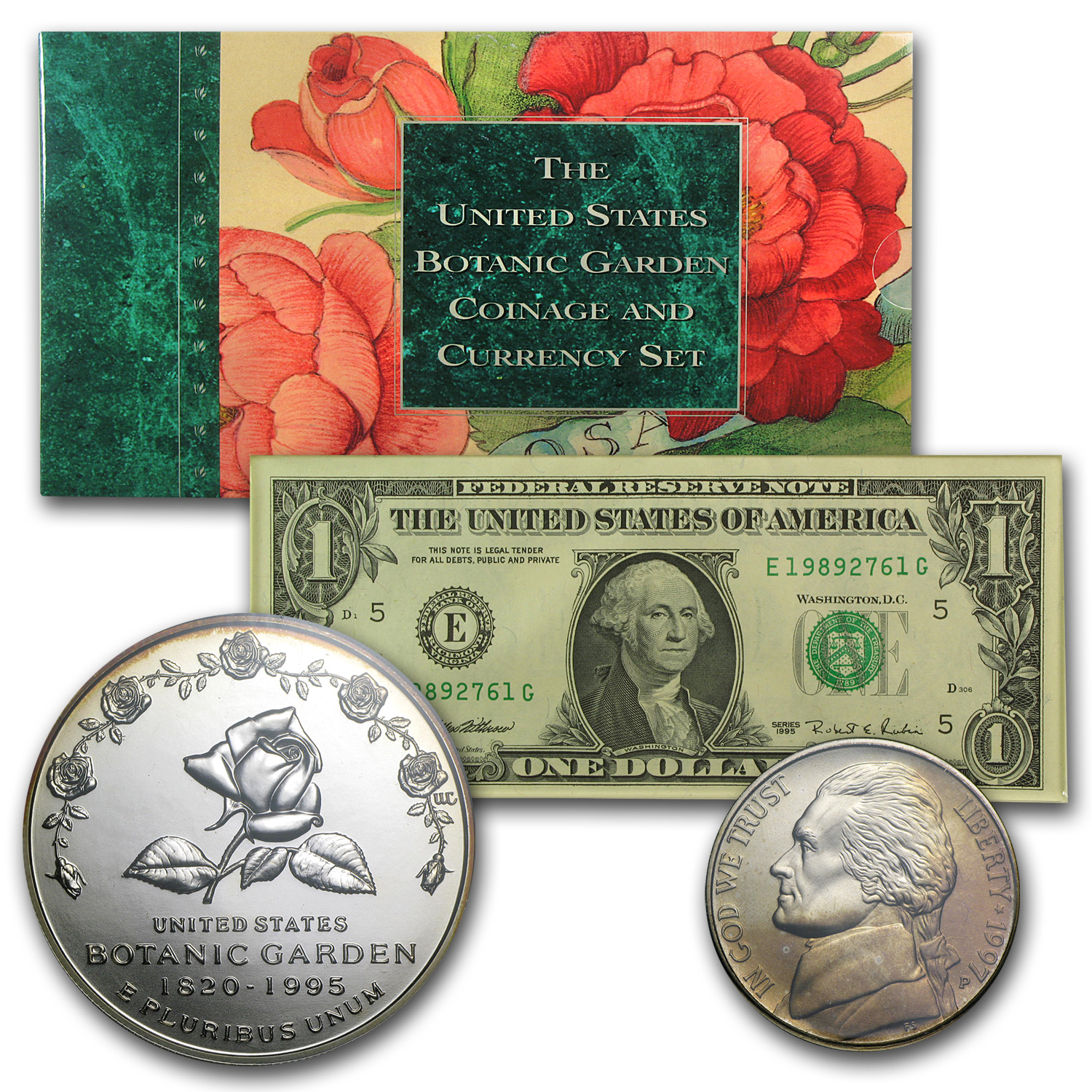1997-P Botanical Garden $1 Silver Commem Coinage & Currency Set