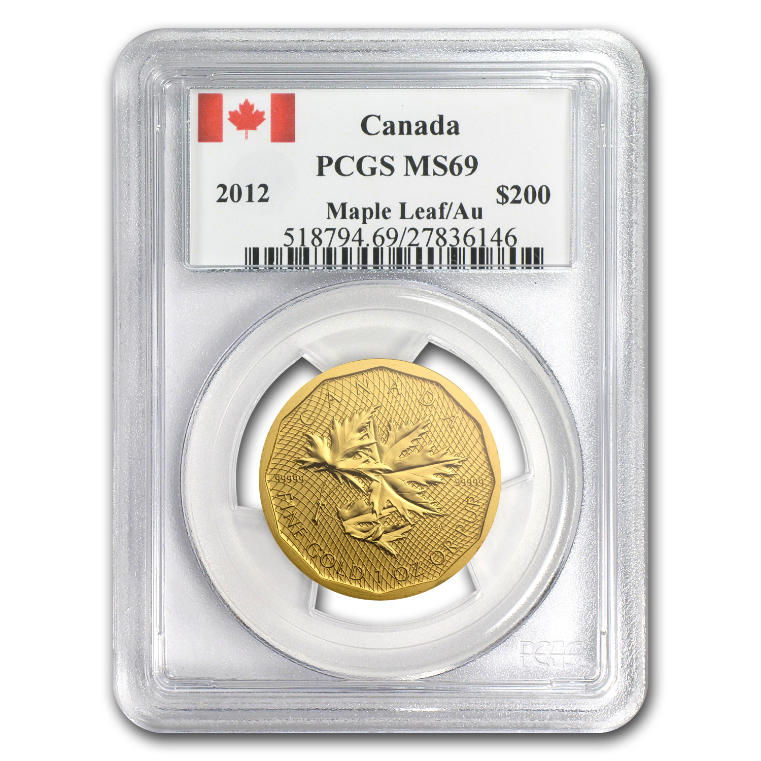 2012 1 oz Gold Canadian Maple Leaf .99999 Fine PCGS MS-69