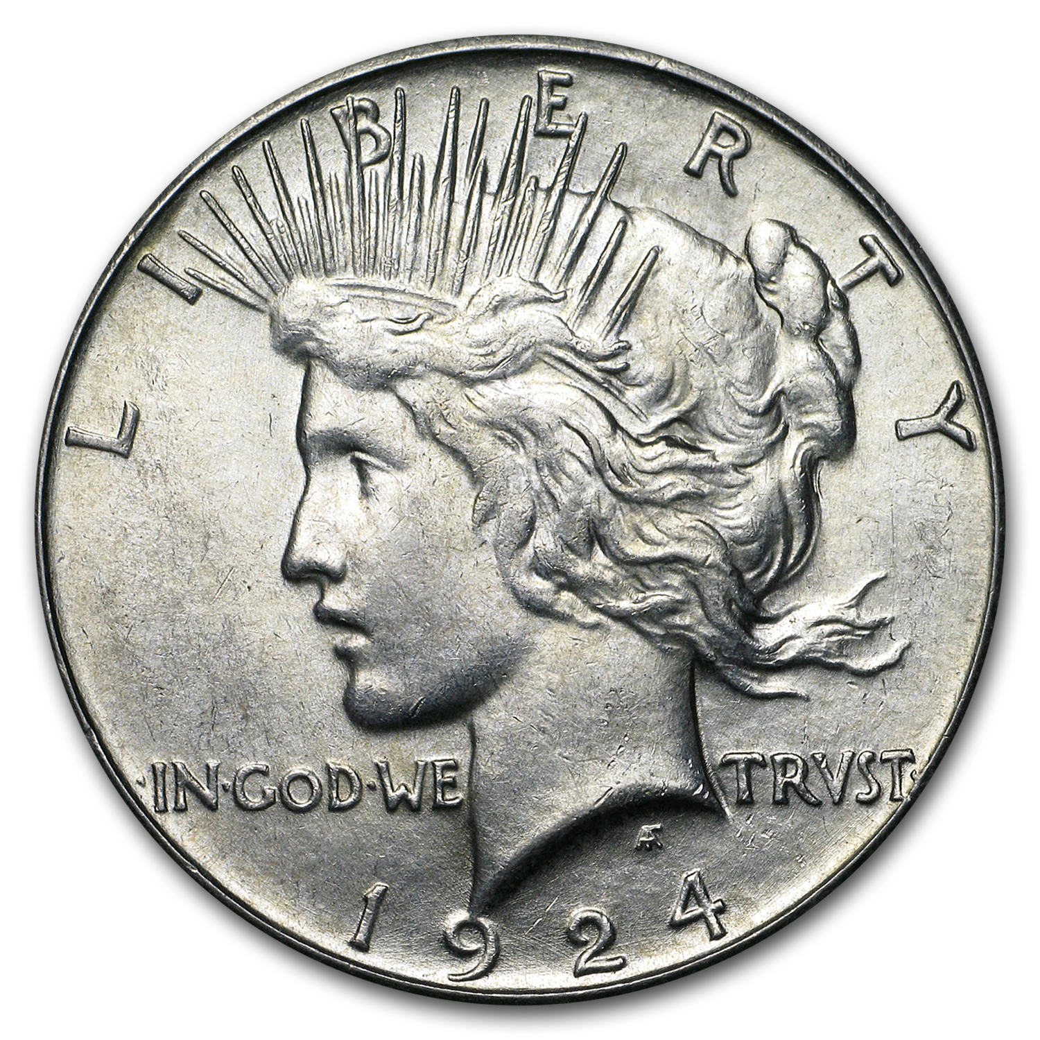 1924-S Peace Dollar - Almost Uncirculated-58