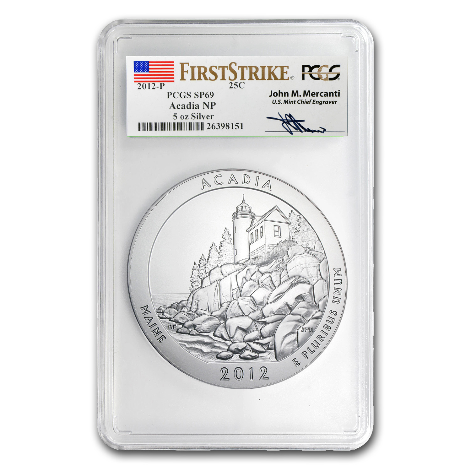 2012-P 5 oz Silver ATB Acadia SP-69 PCGS (FS, Mercanti Label)
