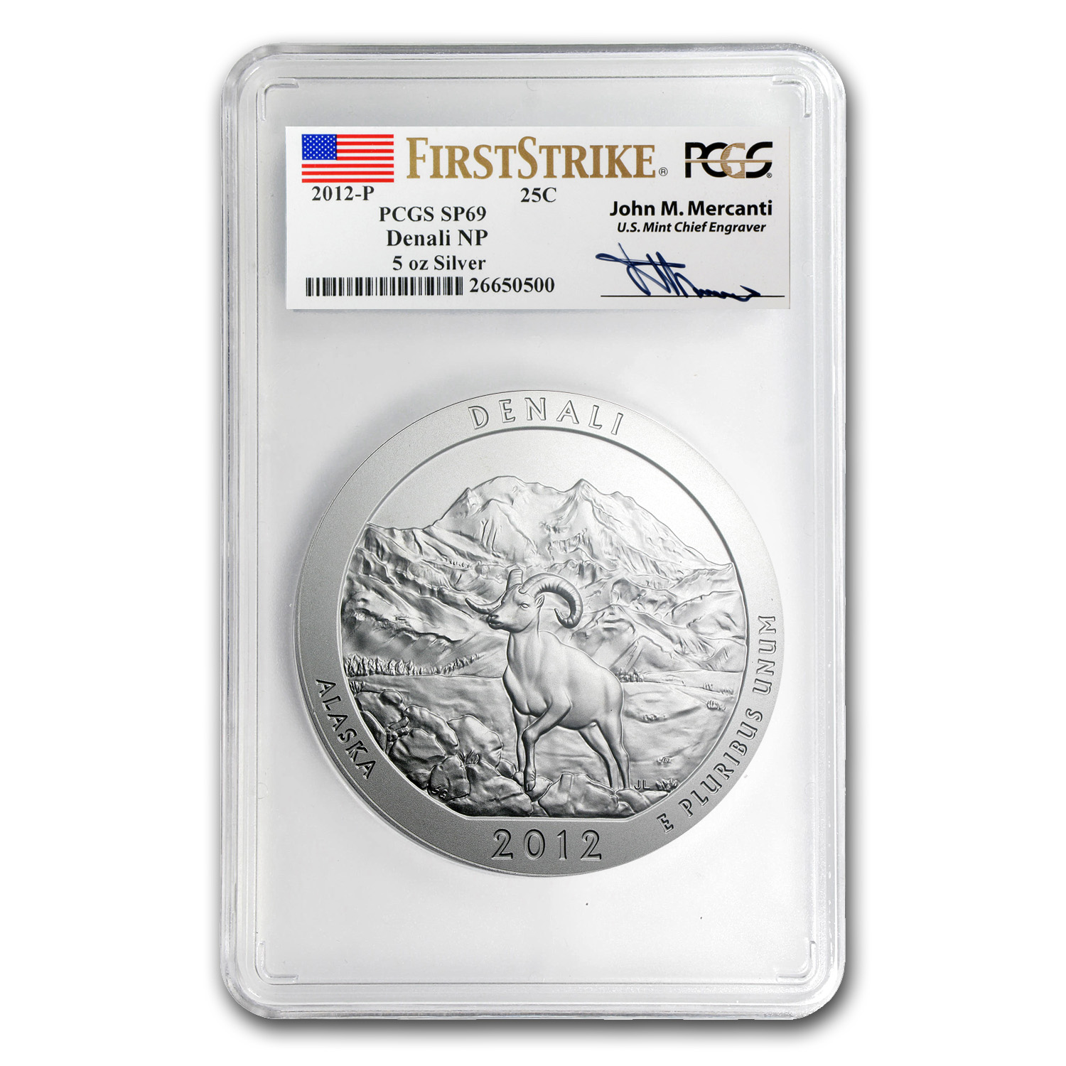 2012-P 5 oz Silver ATB Denali SP-69 PCGS (FS, Mercanti Label)
