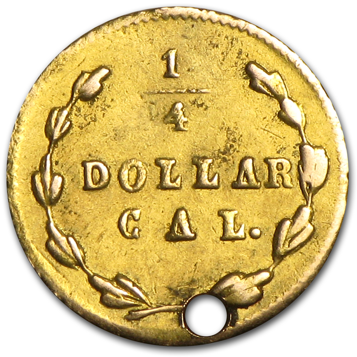 1870 Liberty Round 25 Cent Gold AU Details (BG-835, Holed)