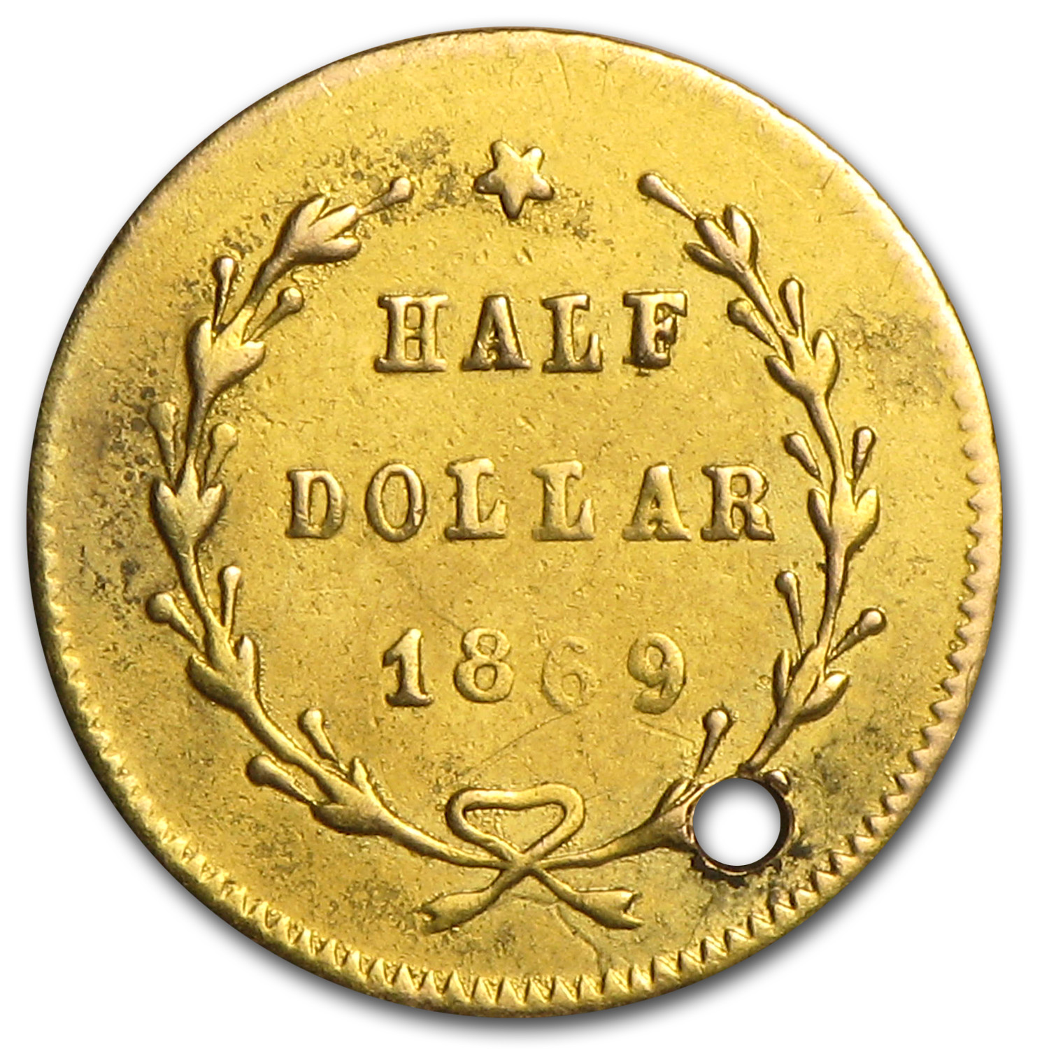 1869 BG-1020 Liberty Round 50 Cent Gold AU Details - Holed