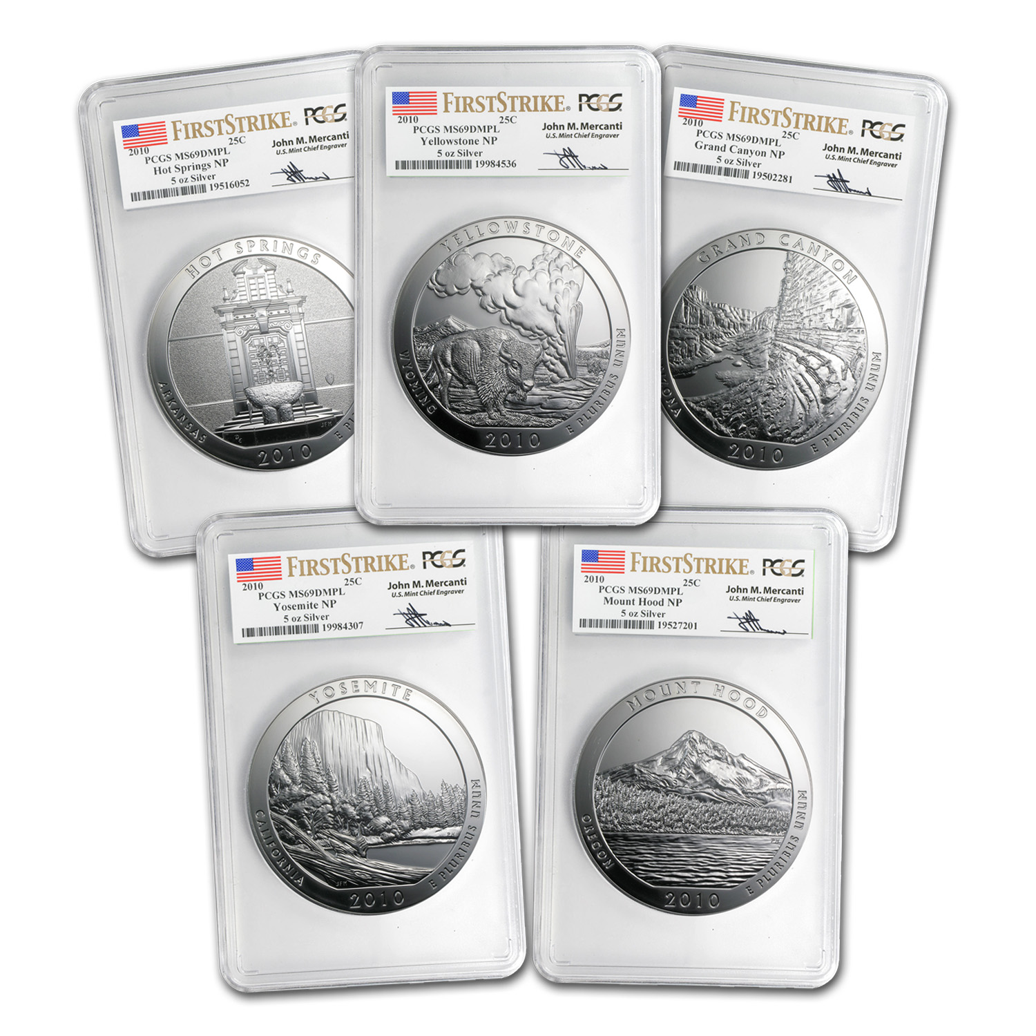 2010 5-Coin 5 oz Silver ATB Set MS-69 DMPL PCGS (FS, Mercanti)