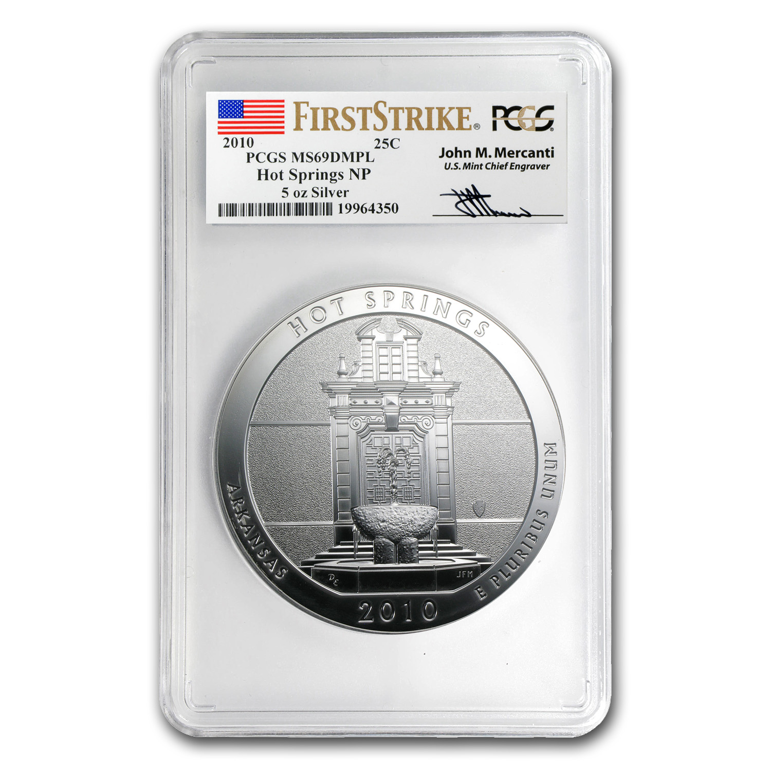 2010 5 Oz Silver Atb Hot Springs Ms 69 Dmpl Pcgs Fs