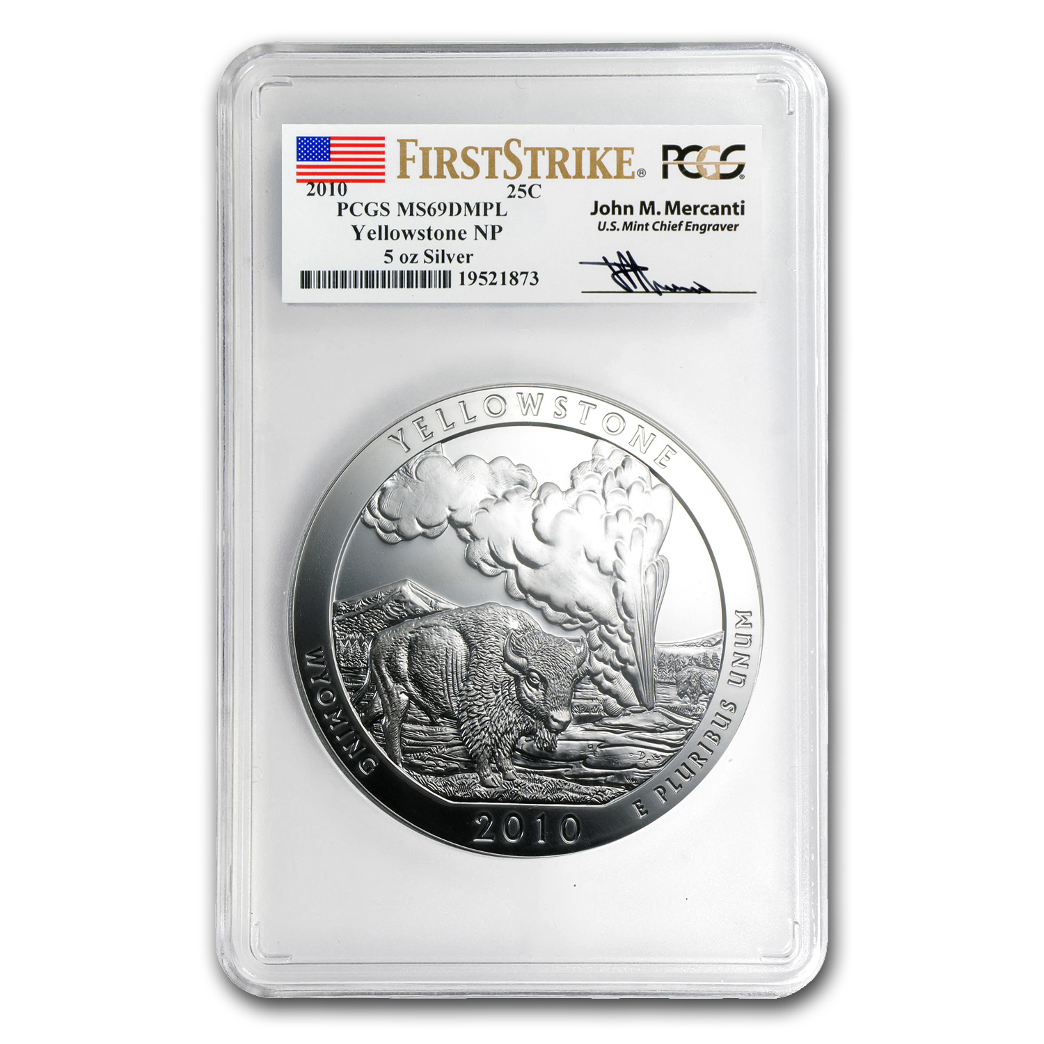 2010 5 oz Silver ATB Yellowstone MS-69 DMPL PCGS (FS, Mercanti)
