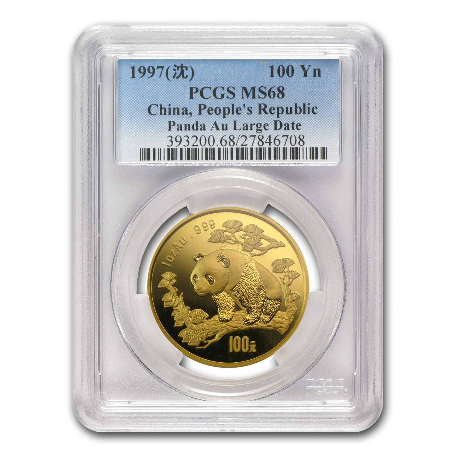 1997 China 1 oz Gold Panda Large Date MS-68 PCGS