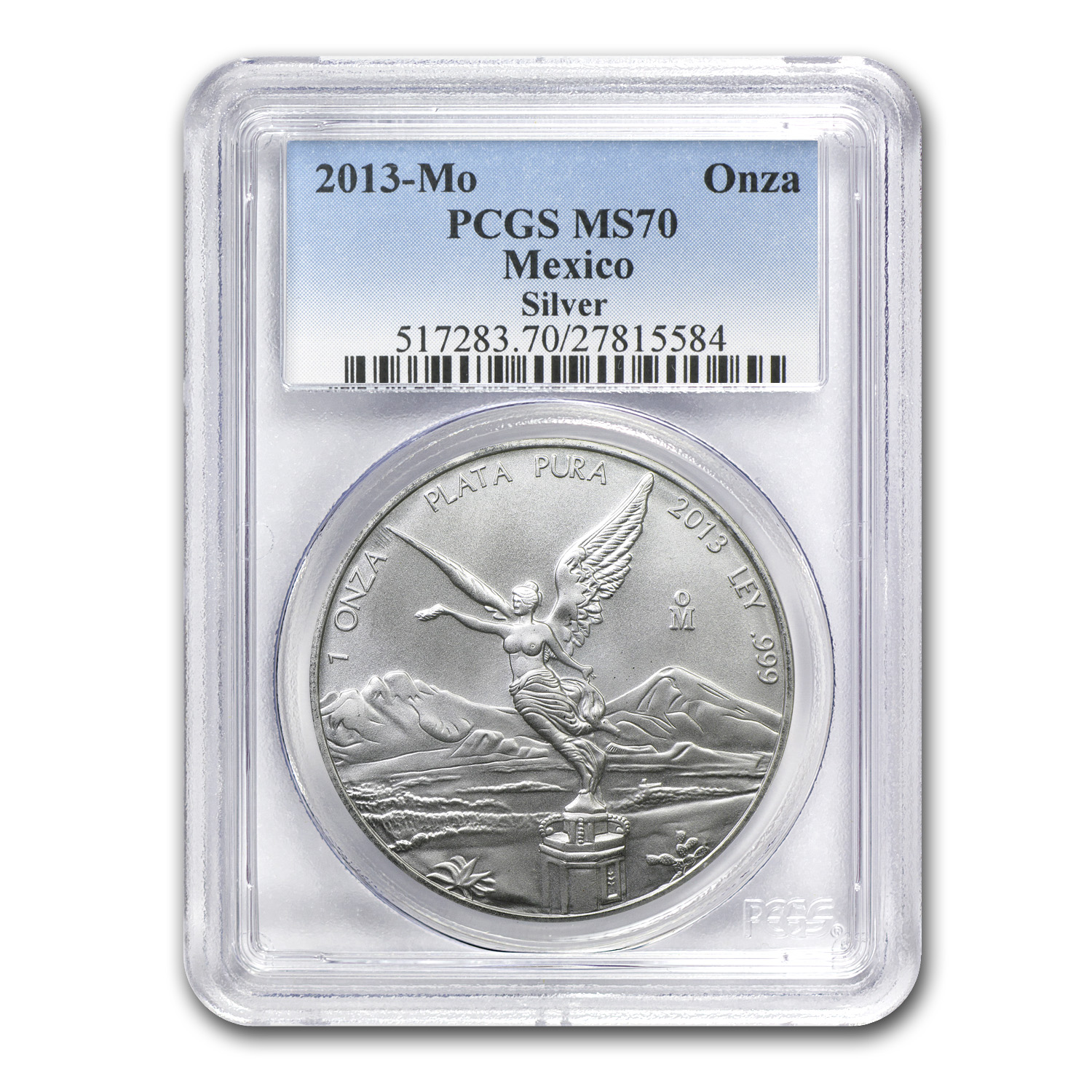 2013 1 oz Silver Mexican Libertad MS-70 PCGS