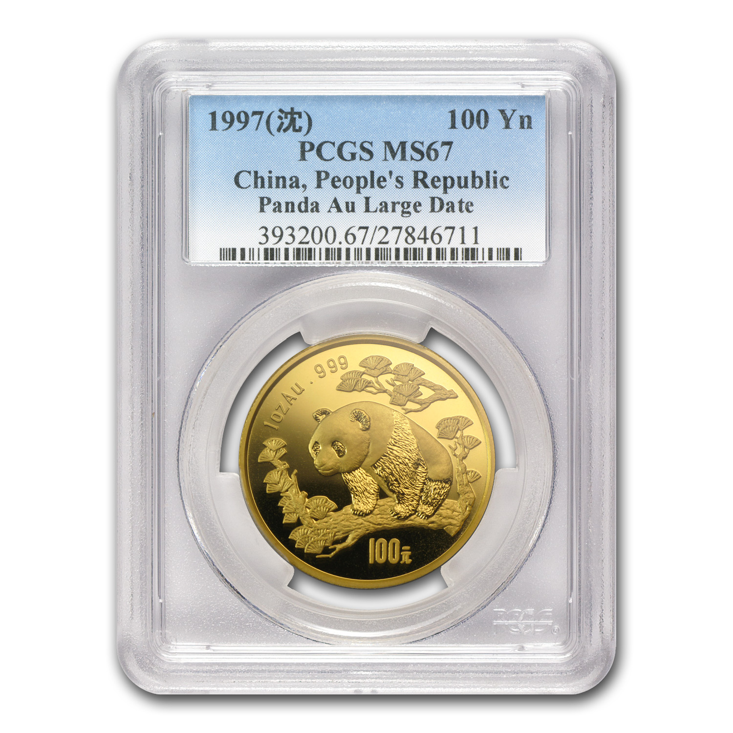 1997 China 1 oz Gold Panda Large Date MS-67 PCGS