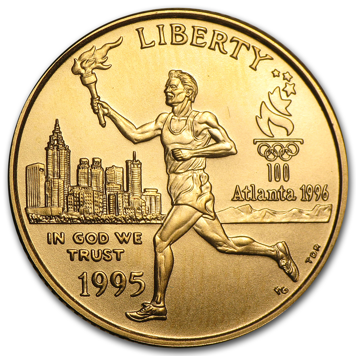 1995-W $5 Gold Commem Olympic Torch Runner BU (w/NationsBank Box)