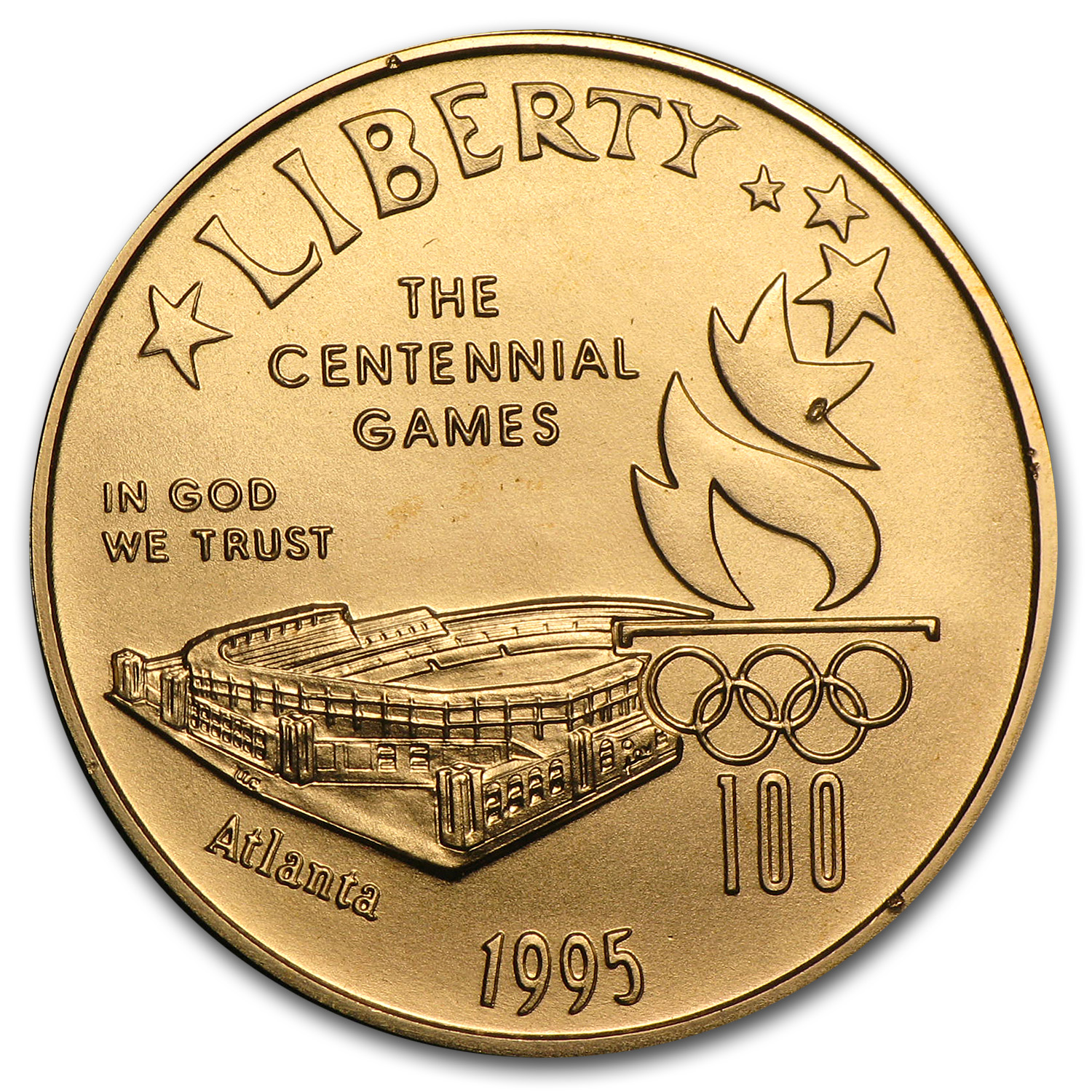 1995-W Gold $5 Commem Olympic Stadium BU (w/Original Box)