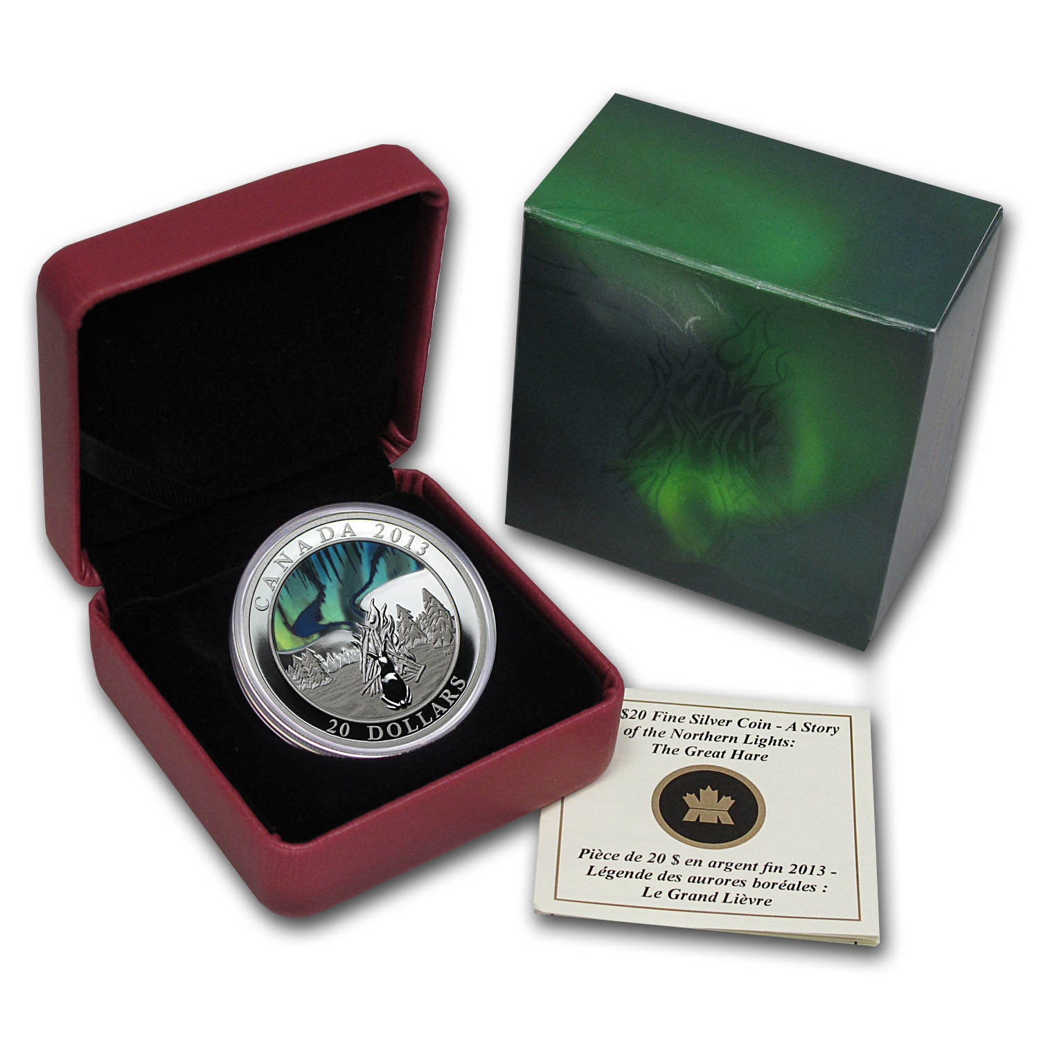 2013 1 oz Silver Canadian $20 - A Story of the Northern Lights