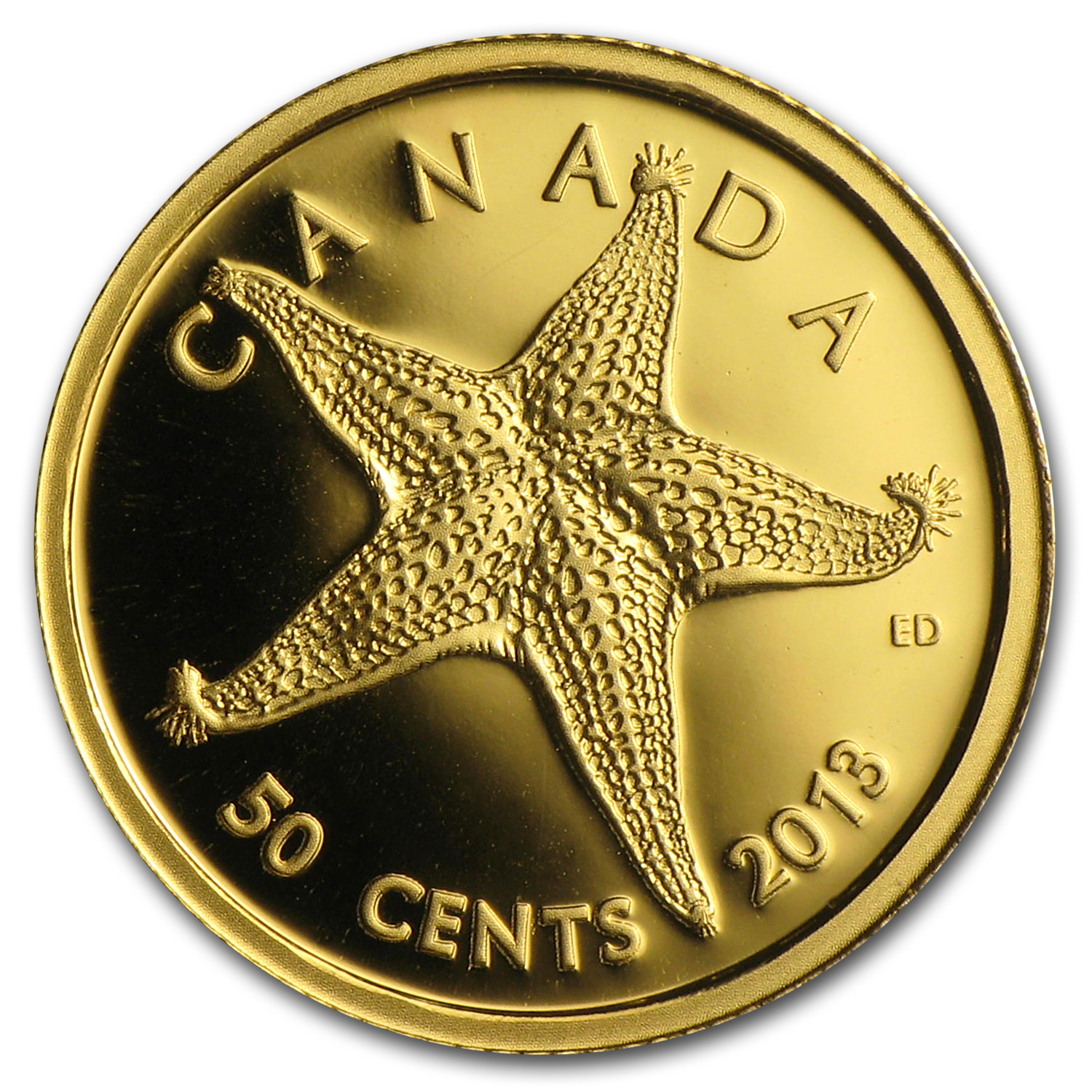2013 1/25 oz Gold Canadian $0.50 Sea Creatures Starfish Proof