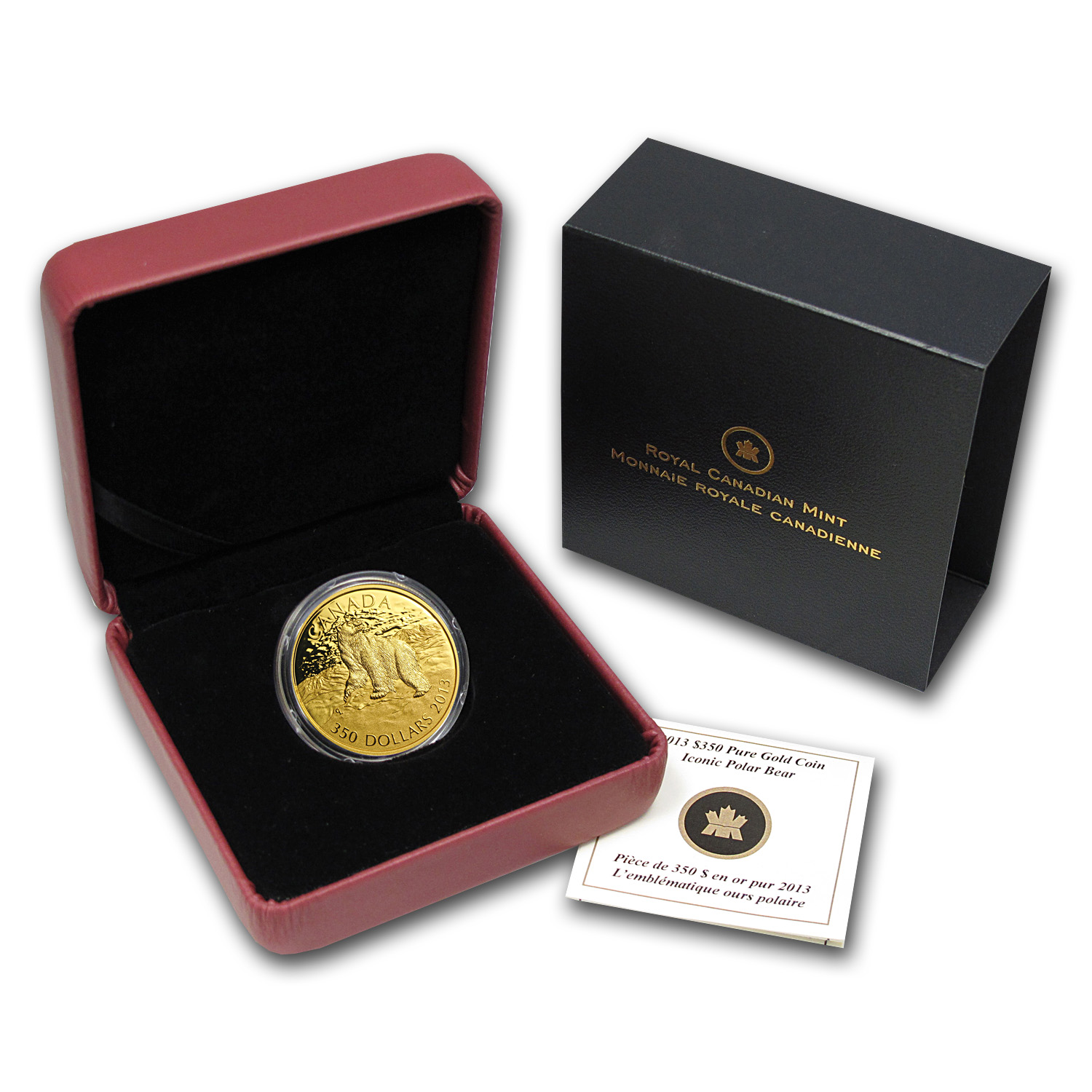 2013 1.125 oz Gold Canadian $350 Coin - Iconic Polar Bear