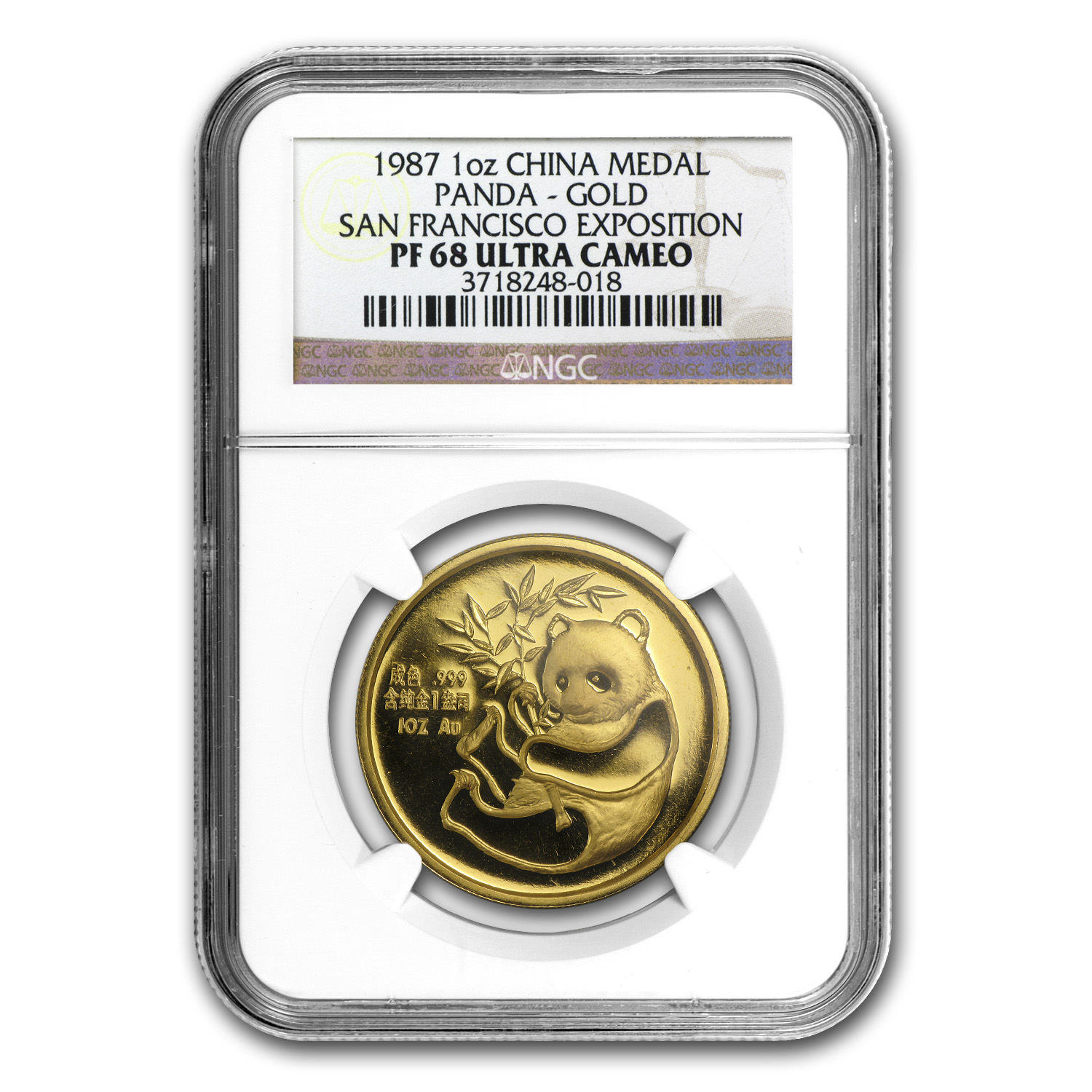 1987 China 1 oz Gold Panda PF-68 NGC (San Francisco Coin Expo)