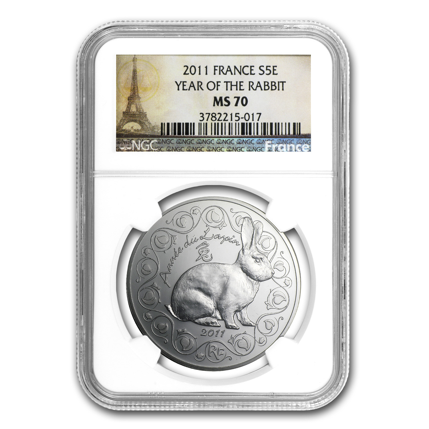 2011 France Silver €5 Year of the Rabbit MS-70 NGC (Lunar Series)