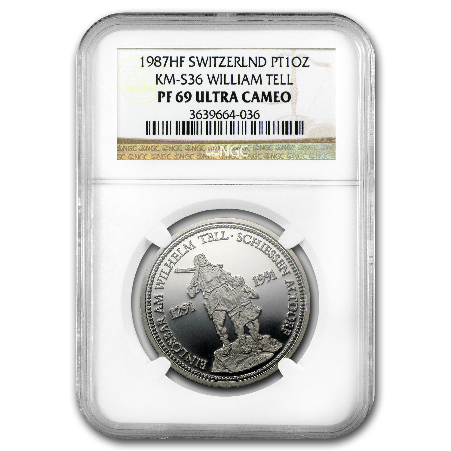1987 1 oz Proof Swiss Platinum William Tell PF-69 NGC