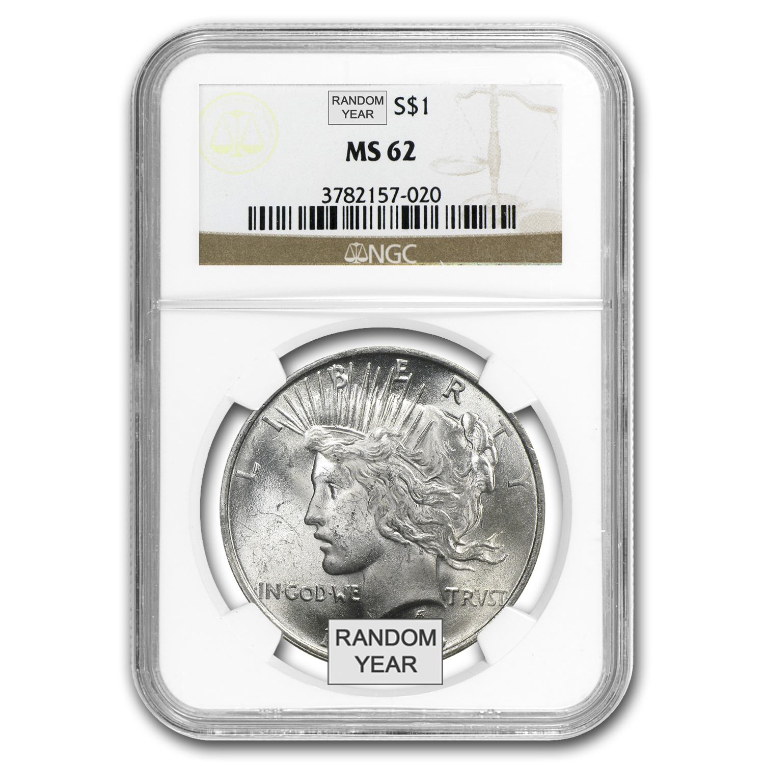 1922-1925 Peace Dollars - MS-62 NGC