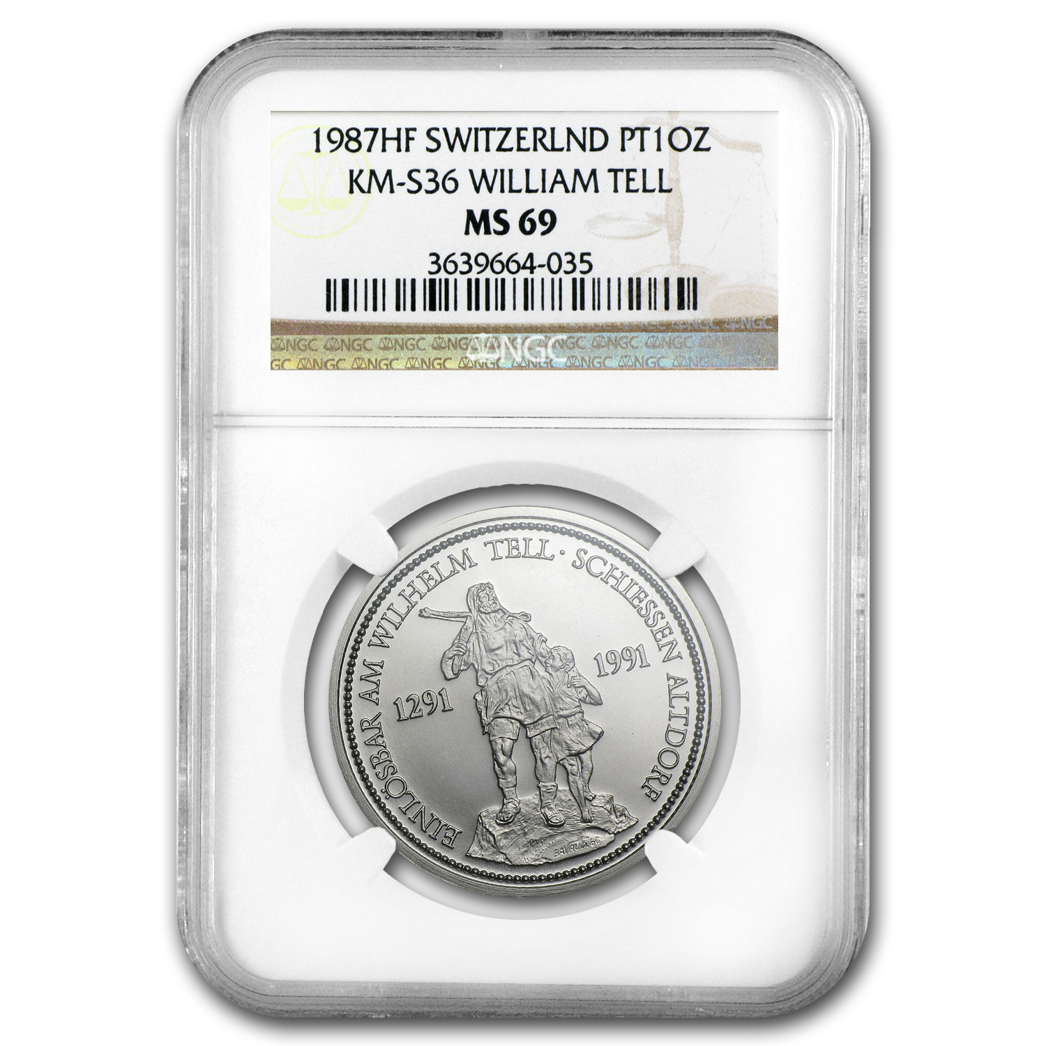 1987 Switzerland 1 oz Platinum William Tell MS-69 NGC