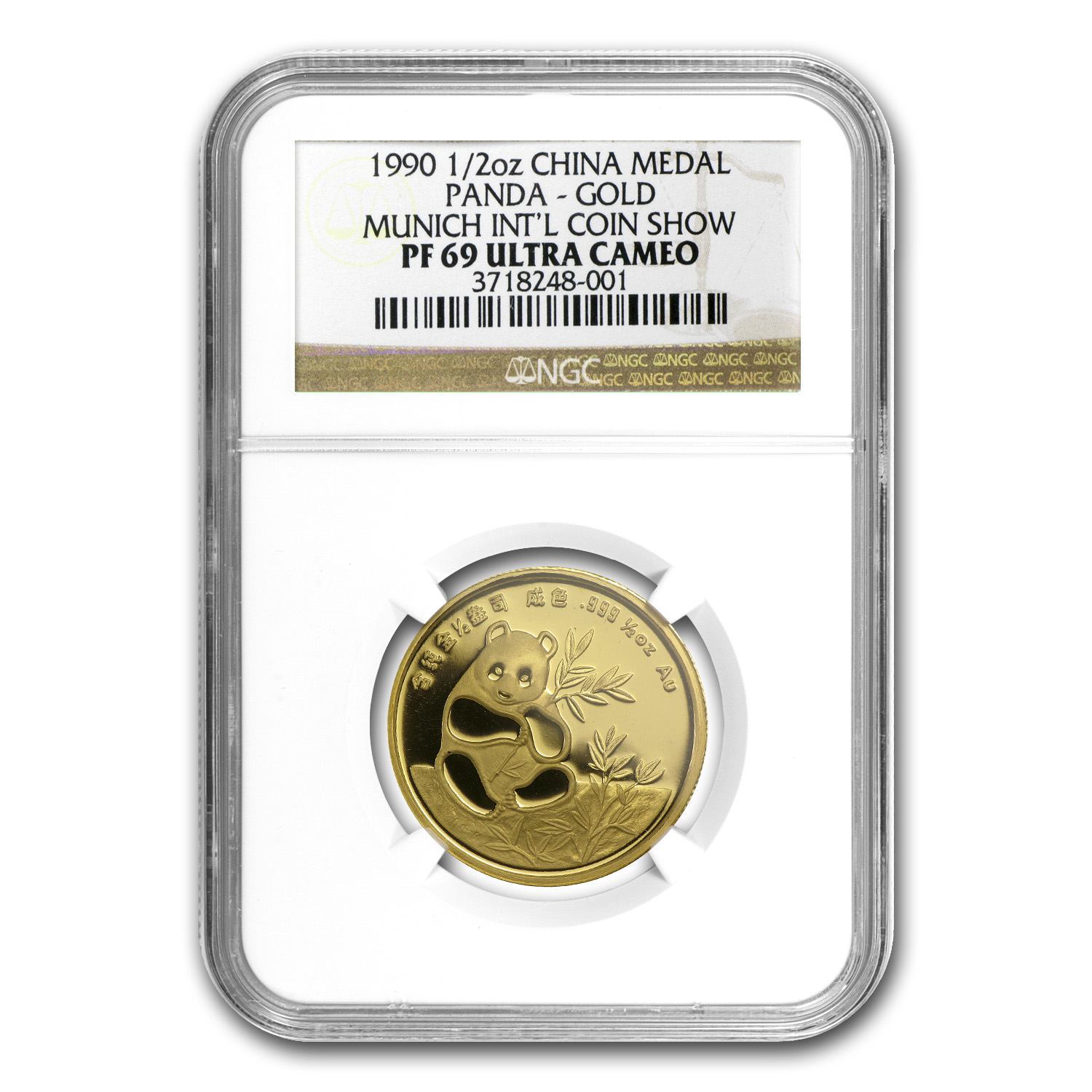 1990 China 1/2 oz Gold Panda PF-69 NGC (Munich Coin Fair Medal)