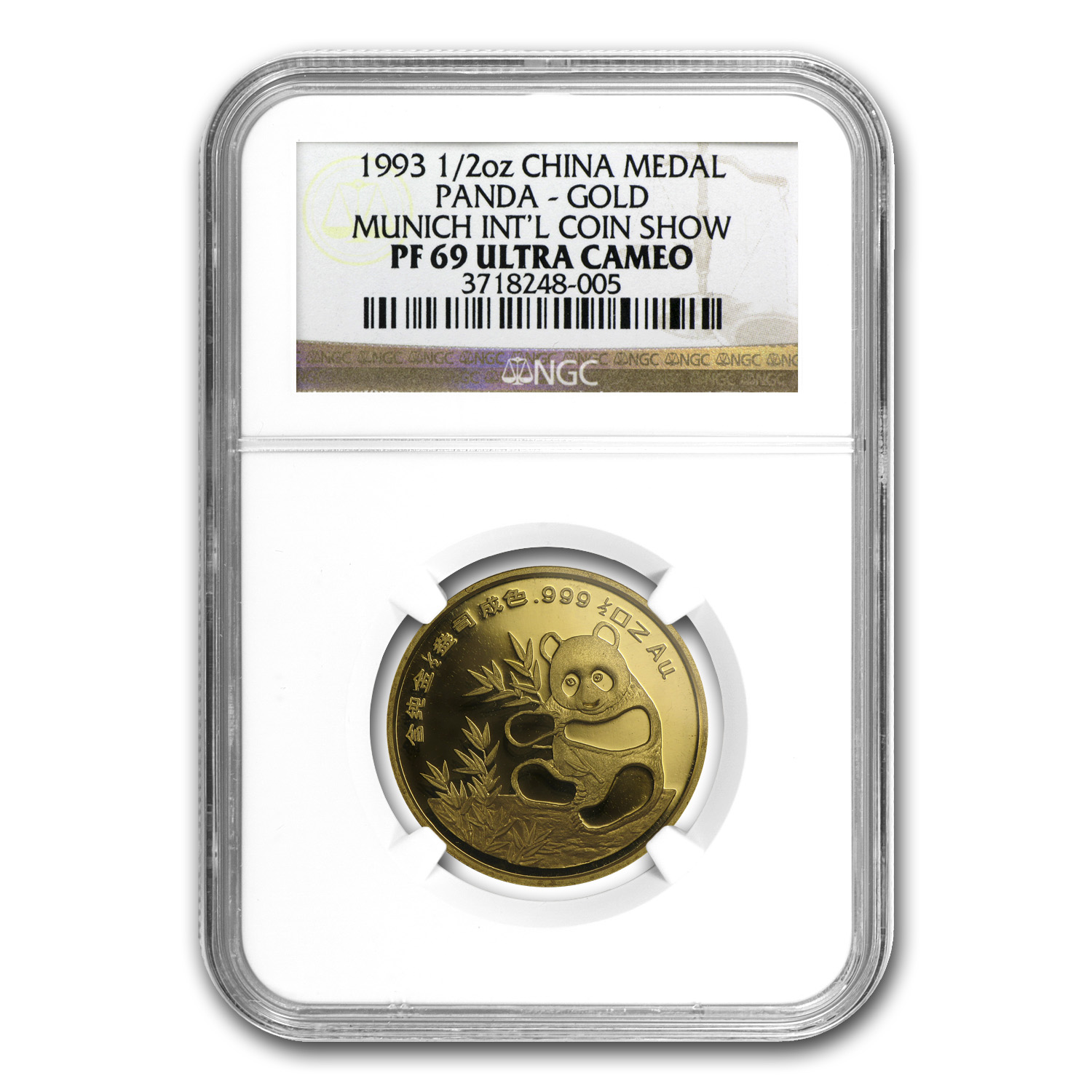 1993 1/2 oz Gold Chinese Panda Munich Coin Fair Medal NGC PF-69